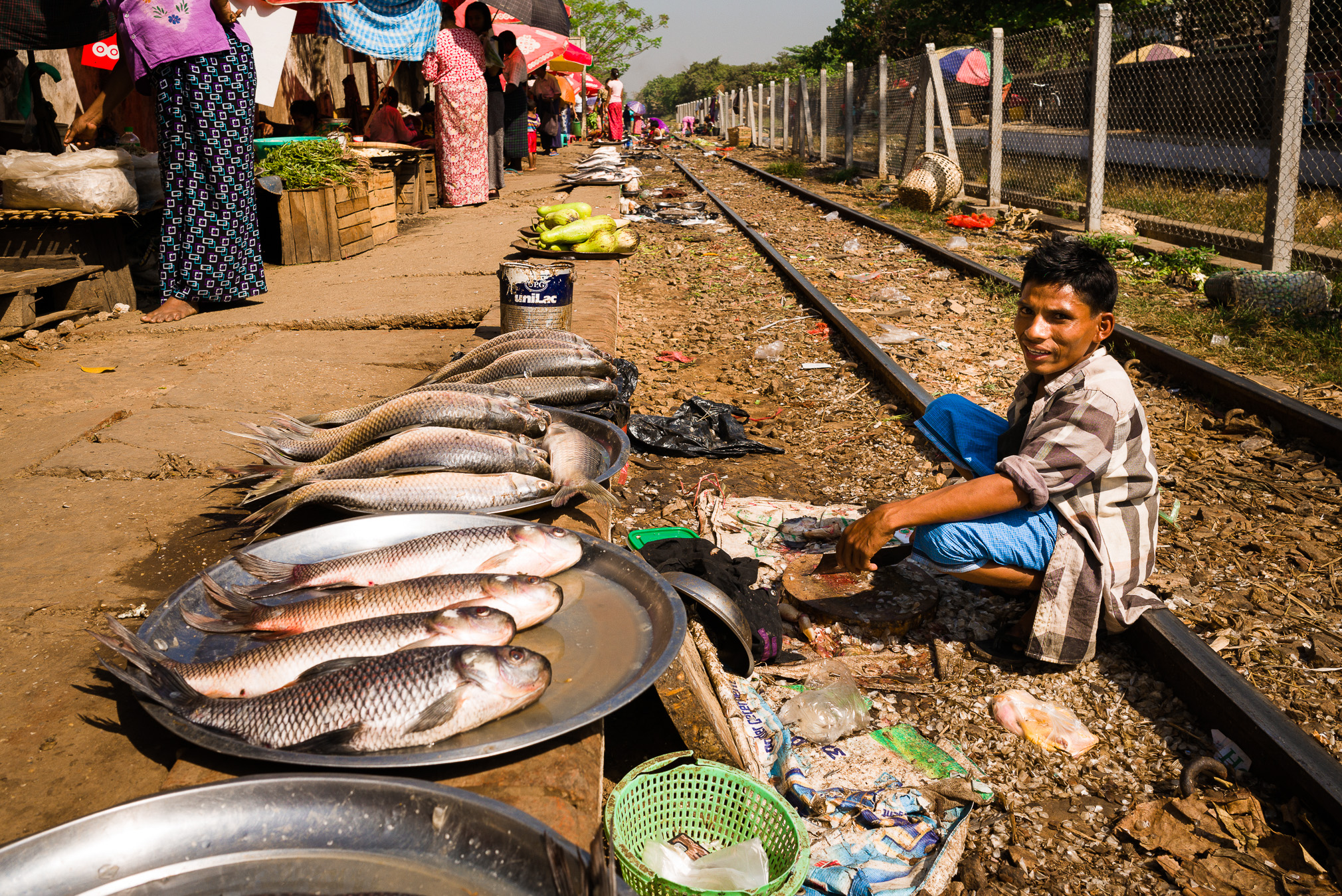 Selling fish beside the railway line