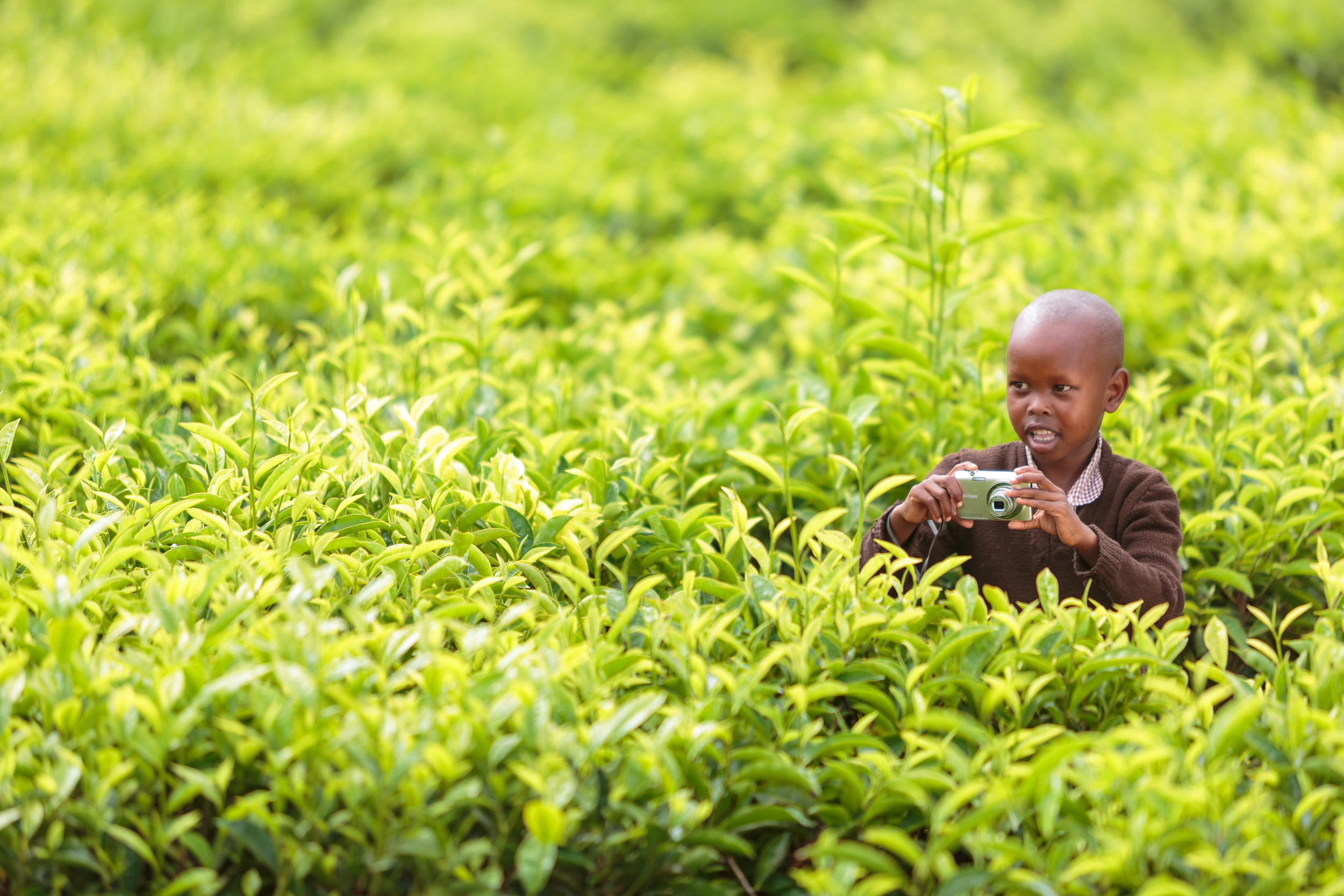 Learning photography during a field trip to a tea plantation in Kilgoris, Kenya