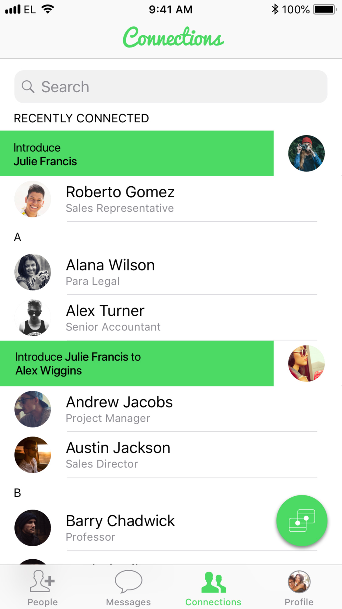 Introduce in Connections - Want to INTRODUCE others you've connected to? Just swipe right in your Connections.Learn more ➝