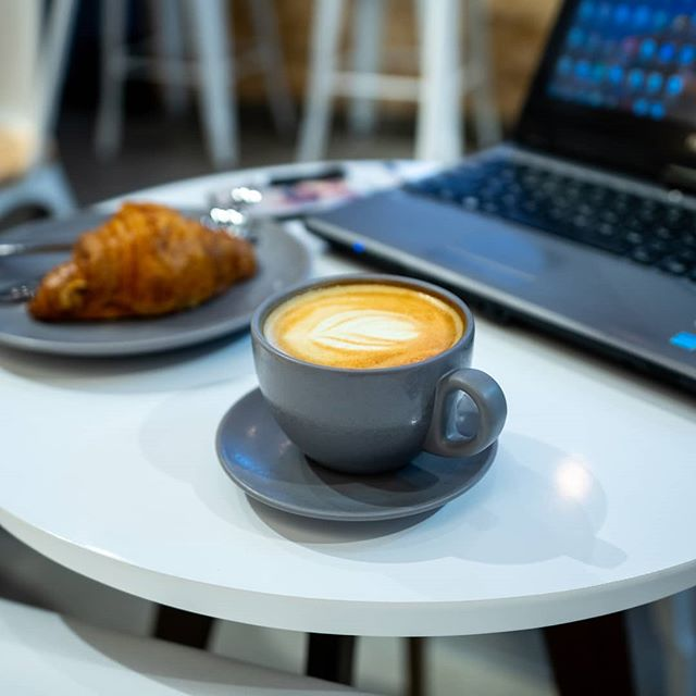 Coffee and Croissant are all what you need to help you study.  #coffee #specialtycoffee #sharjah #croissant #love #dubai #abudhabi