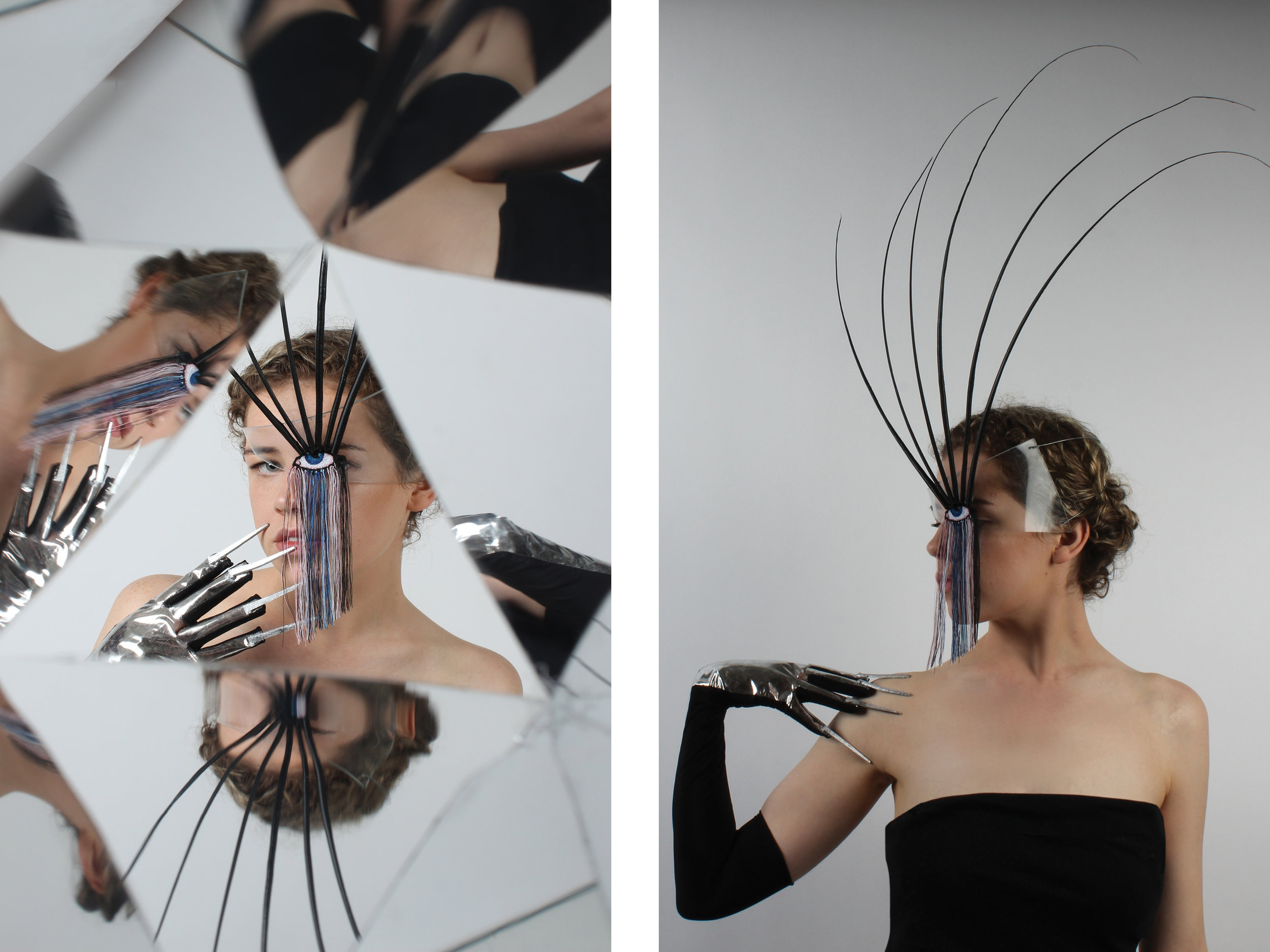 Perspex and ostrich quill mask with embroidered eye giving appearance of extravagant false eyelashes. Metallic evening glove with iron floorboard nails to represent acrylic nails. Surrealist pun and  homage  to Elsa Schiaparelli.