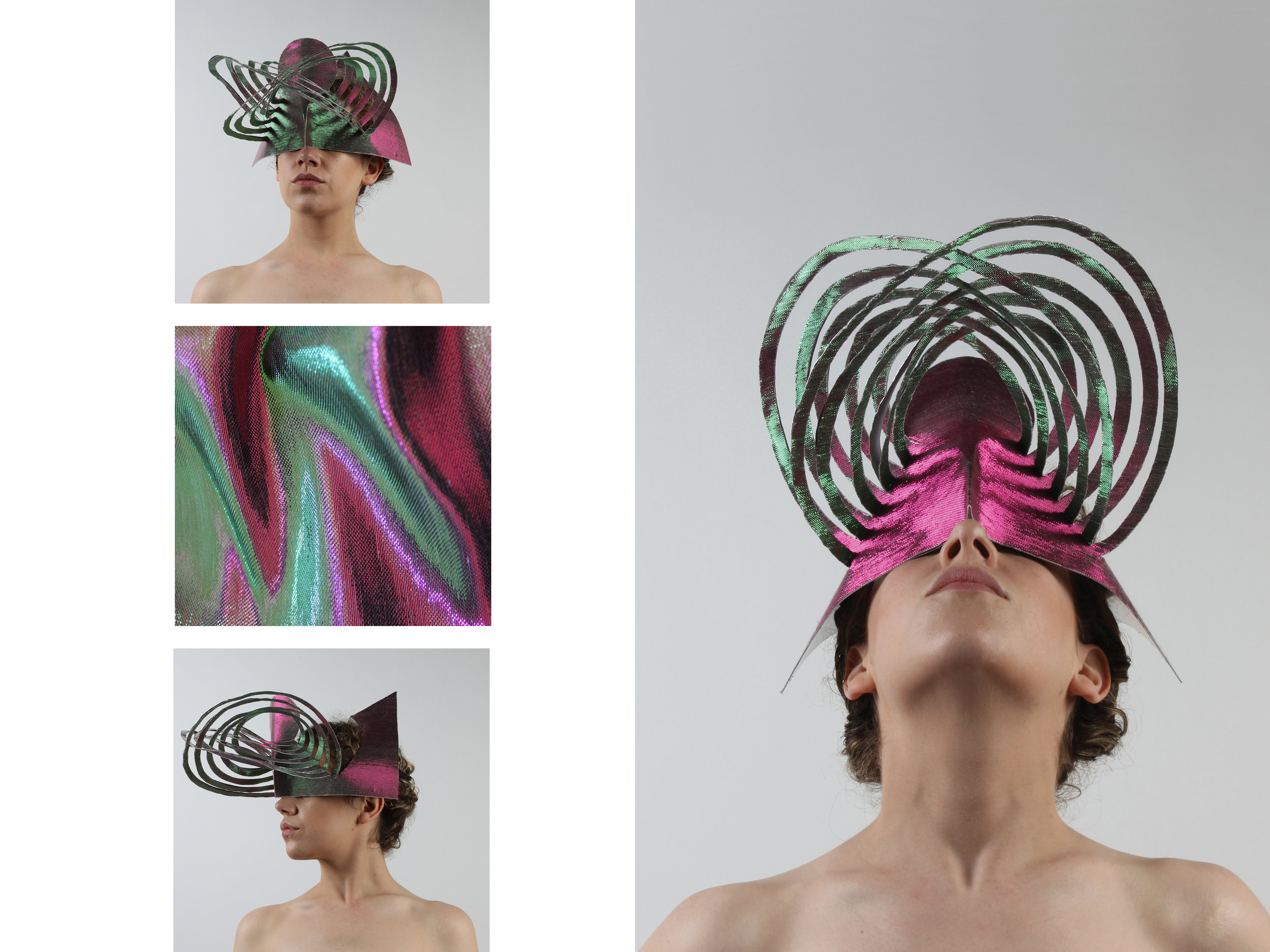 Kinetic hat cut and shaped out of aluminium and two-toned textile