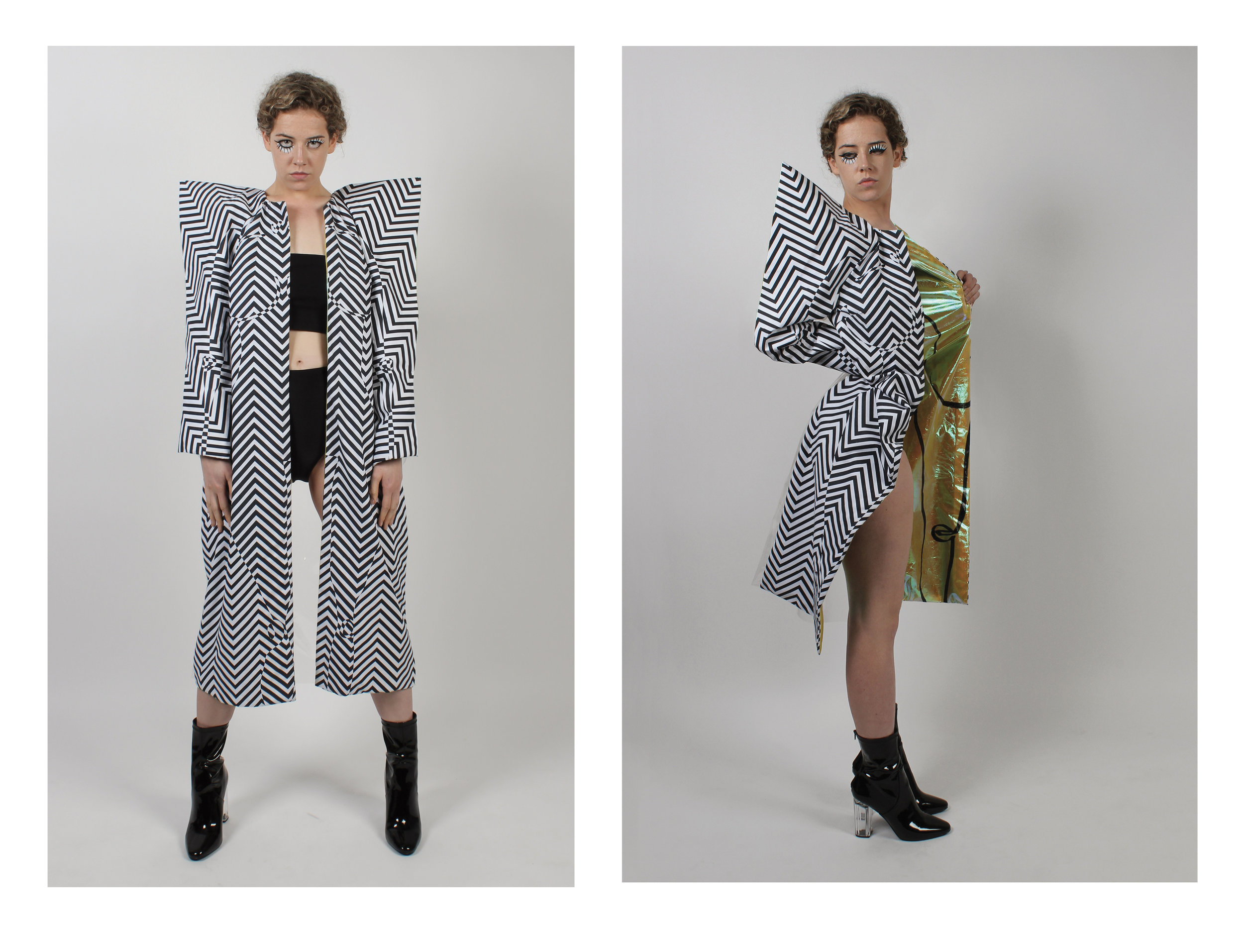 Coat made with digitally printed fabric, iridescent yellow plastic hand painted lining with drawing and latex clear back