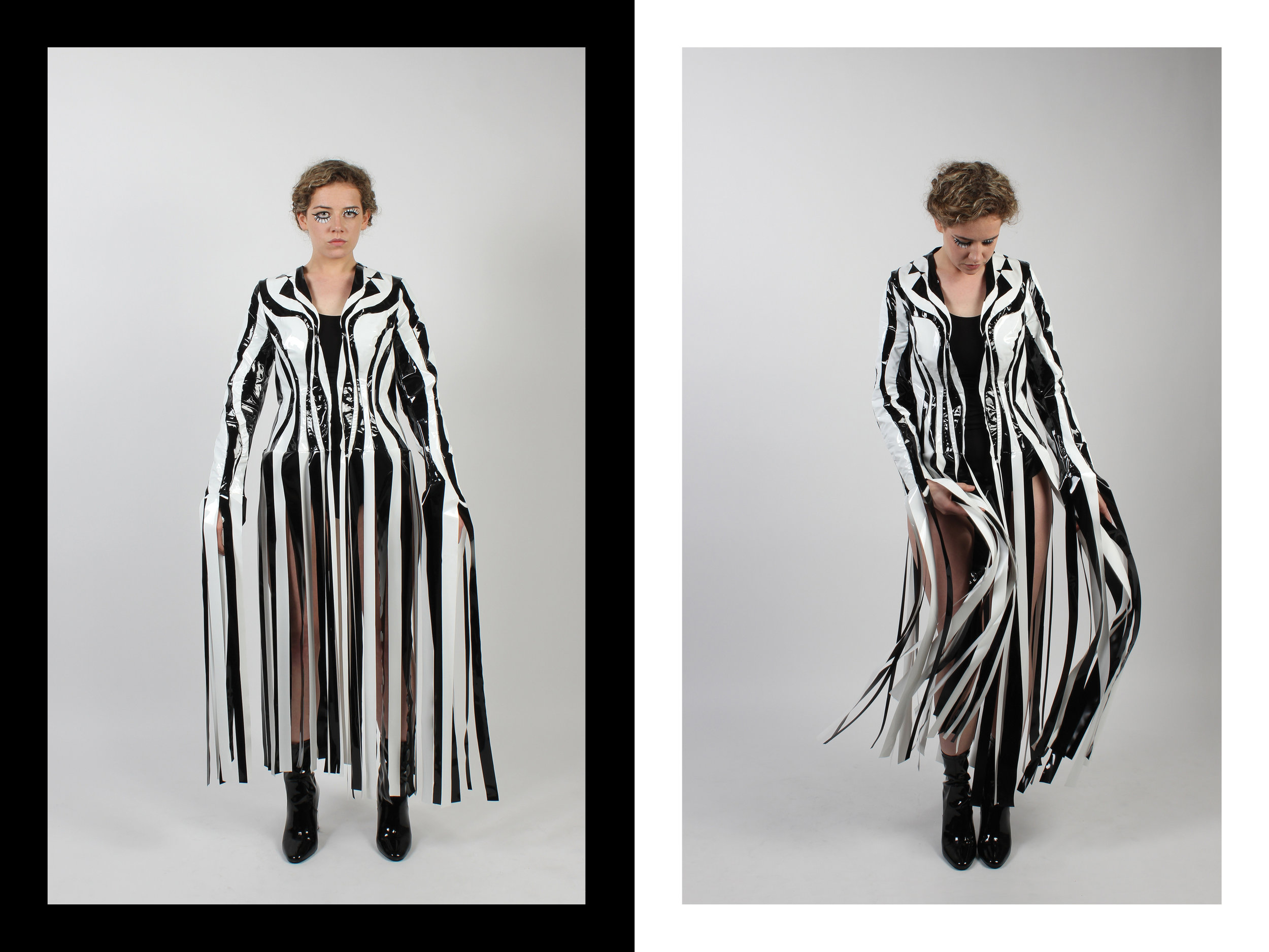 Coat made from plastic. Inspired by dazzle ship camouflage and disruptive colourisation. Designed to give wearer curved shape at bodice.