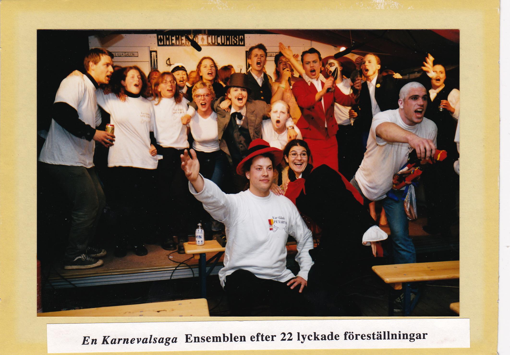 Den orginella ensemblen från föreningens första spex på Lundakarnevalen 1998