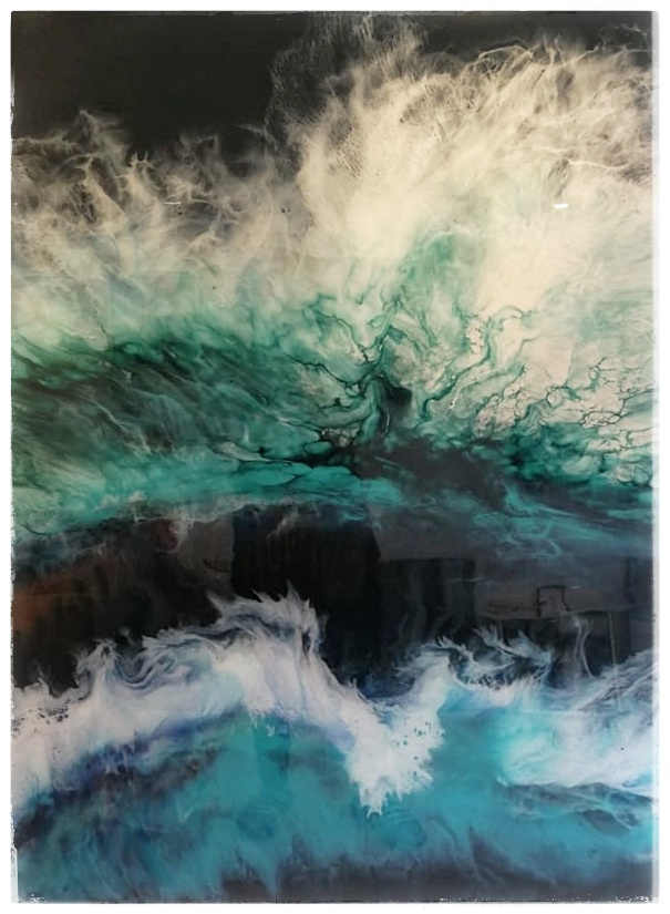 Breaking Surf  - Acrylic inks and resin on cradled panel. 2019