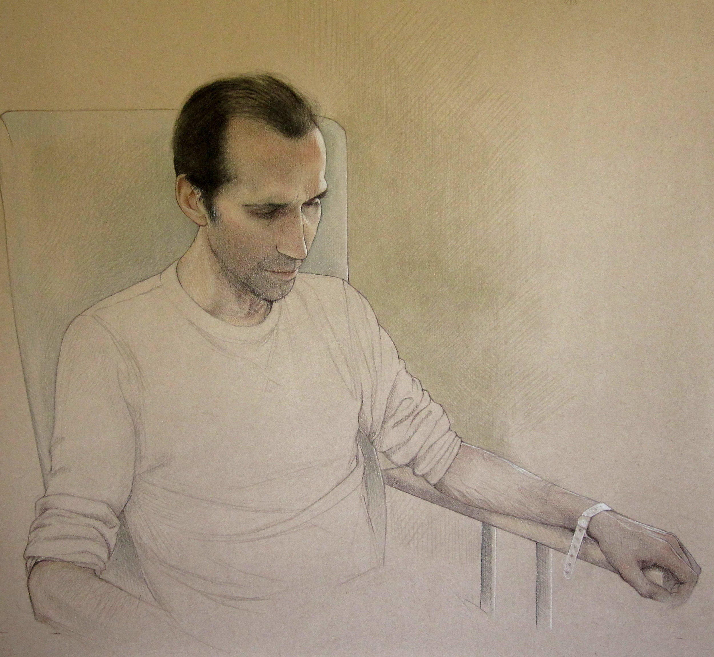 2017 SPA Exhibition, Chris in hospital 98 x 105 cm (framed)     Coloured pencil on paper     £950