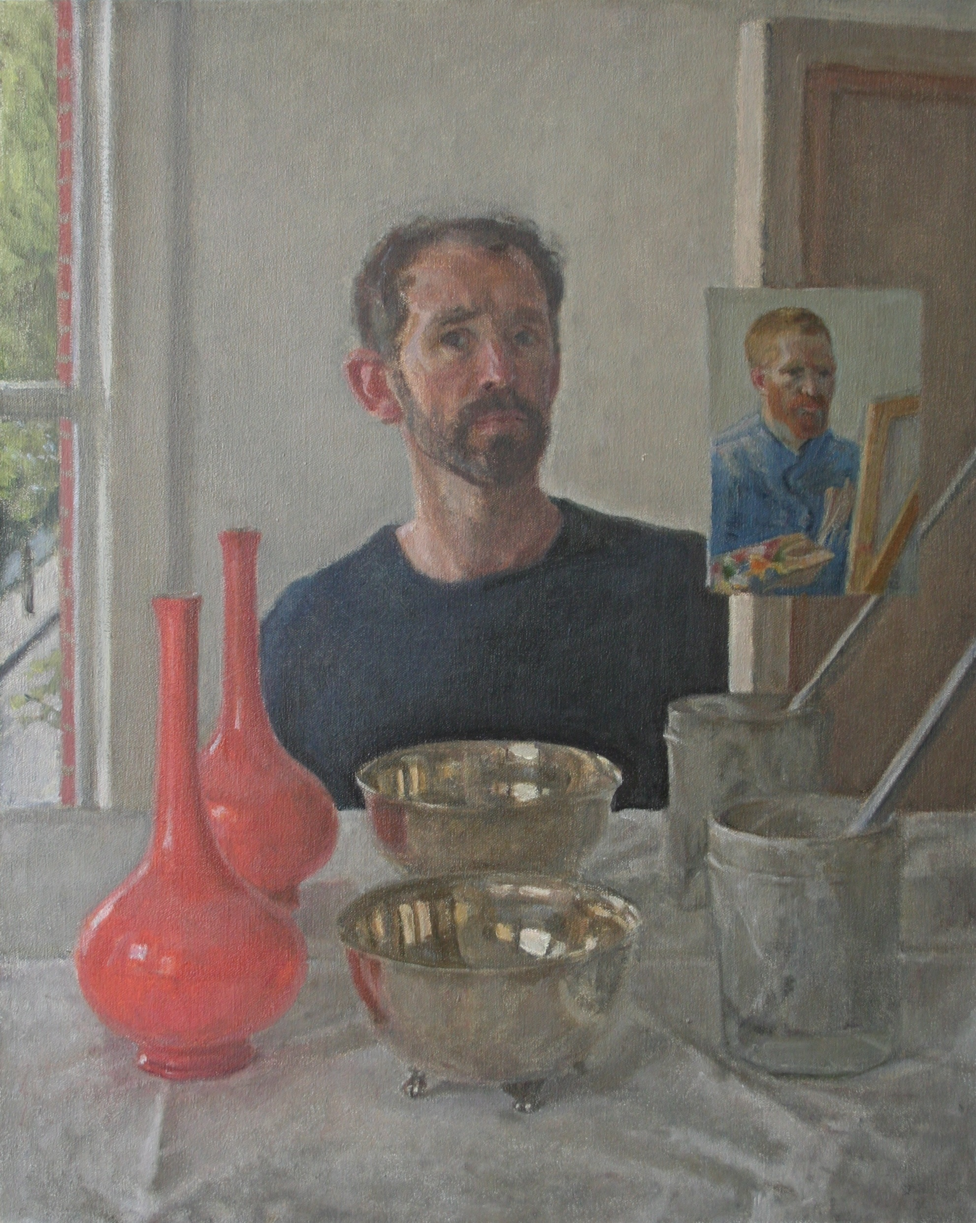 SPA 2017 Exhibition, Things in twos (self-portrait),    55 x 65 cm  Oil on canvas, £1,600