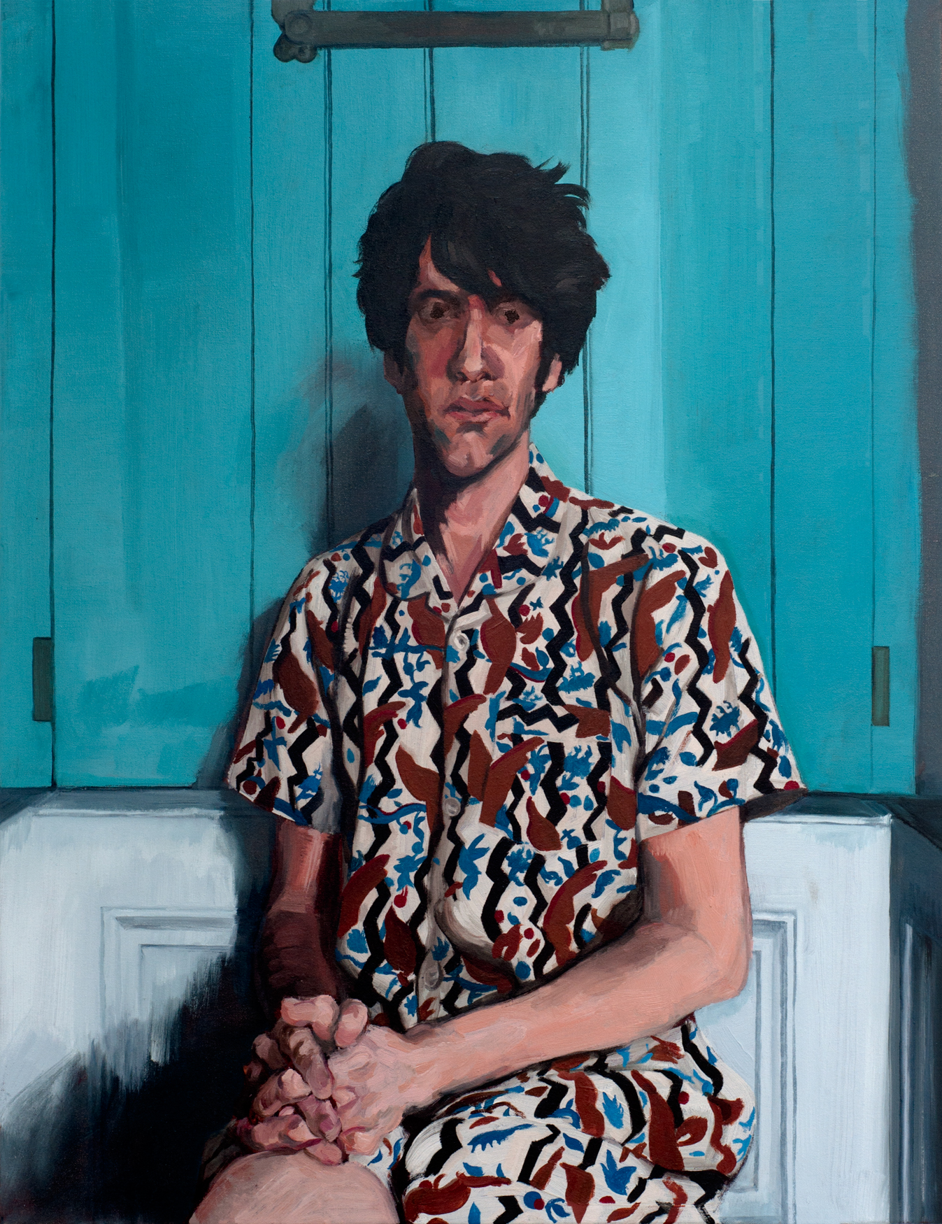 SPA 2017 Exhibition, Self-portrait in pyjamas, 76.2 x 101.6 cm, Oil on canvas, £750  All rights reserved