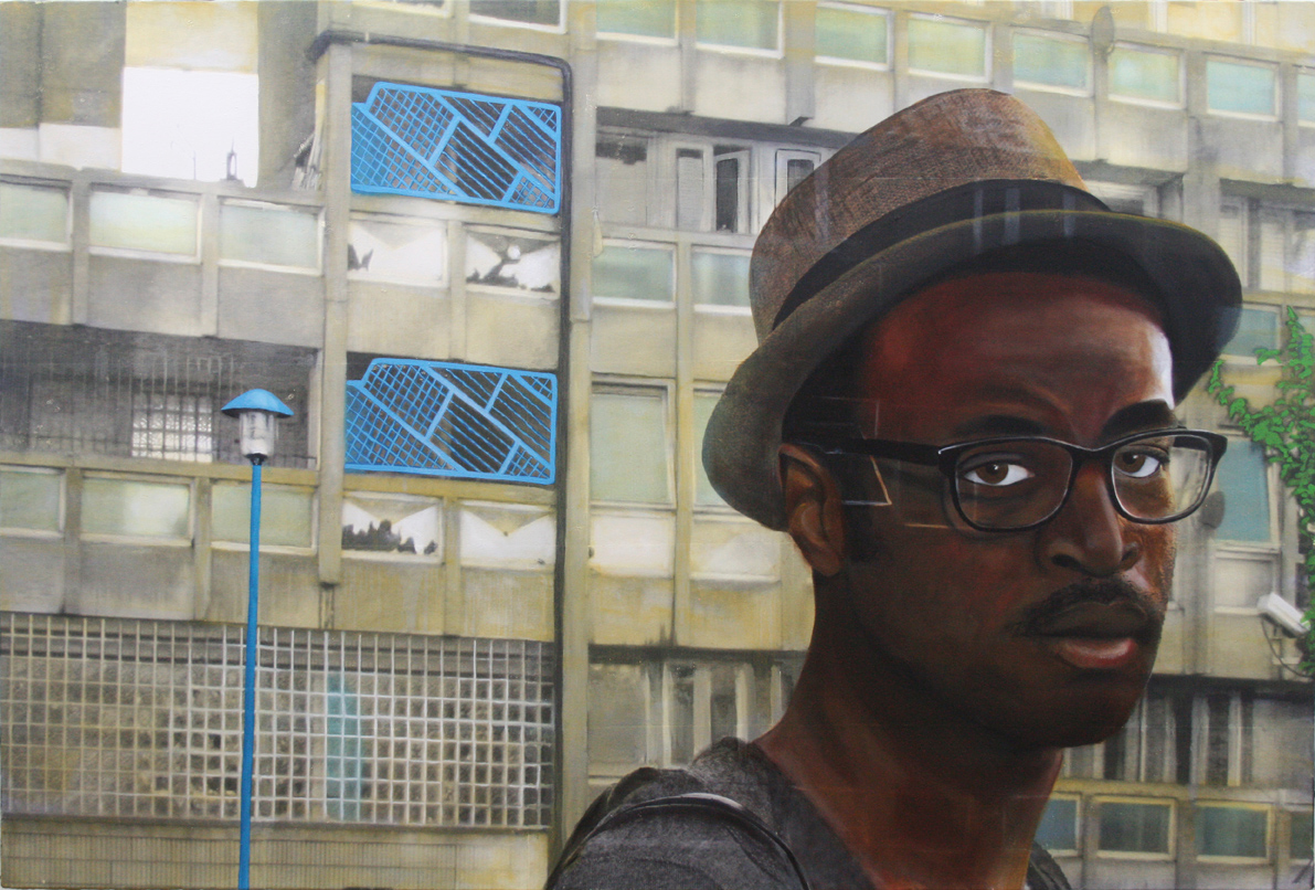 SPA 2018 Eleanor Buffam, Open Windows: Wana on the Robin Hood Gardens Estate, Oil/canvas 85,x,125 £3500 All rights reserved