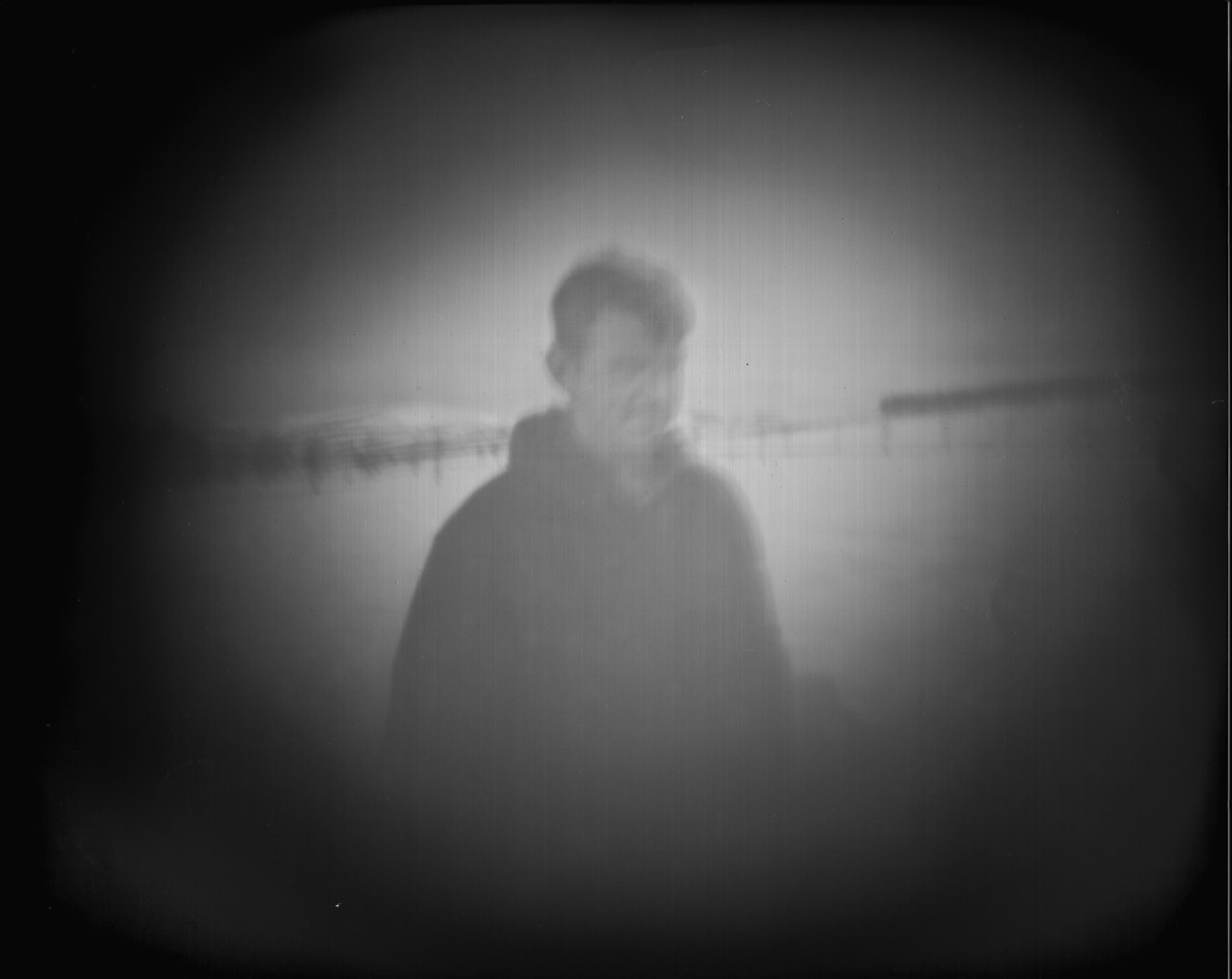 SPA 2018, Harriet Selka, Pin-hole portrait during the Beast from the East, Digital print from pin-hole negative, 30x35, £300  All rights reserved