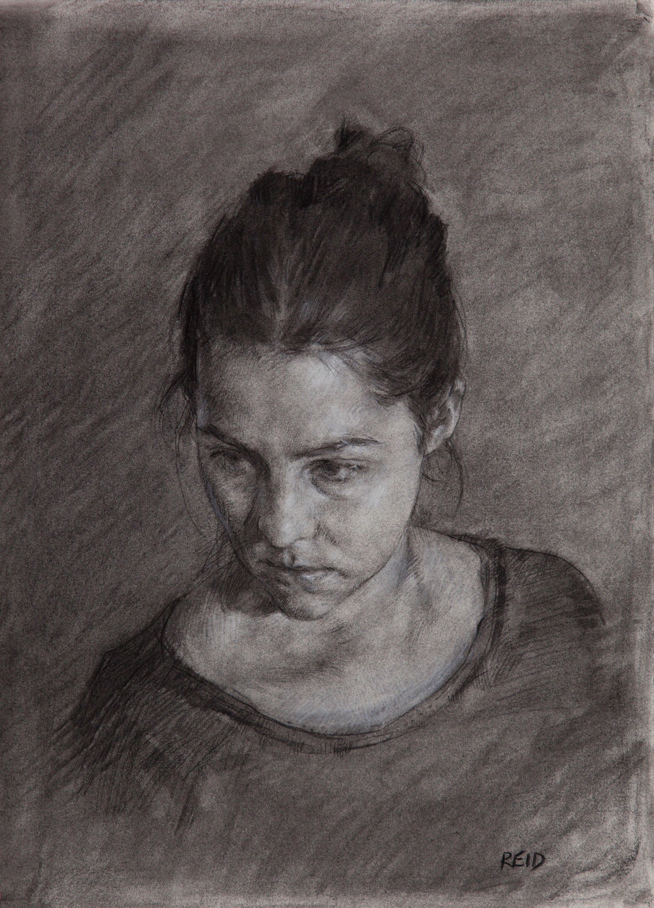 Heather Portrait Study, 2015, charcoal, 35.5 x 25.5 cms (2)