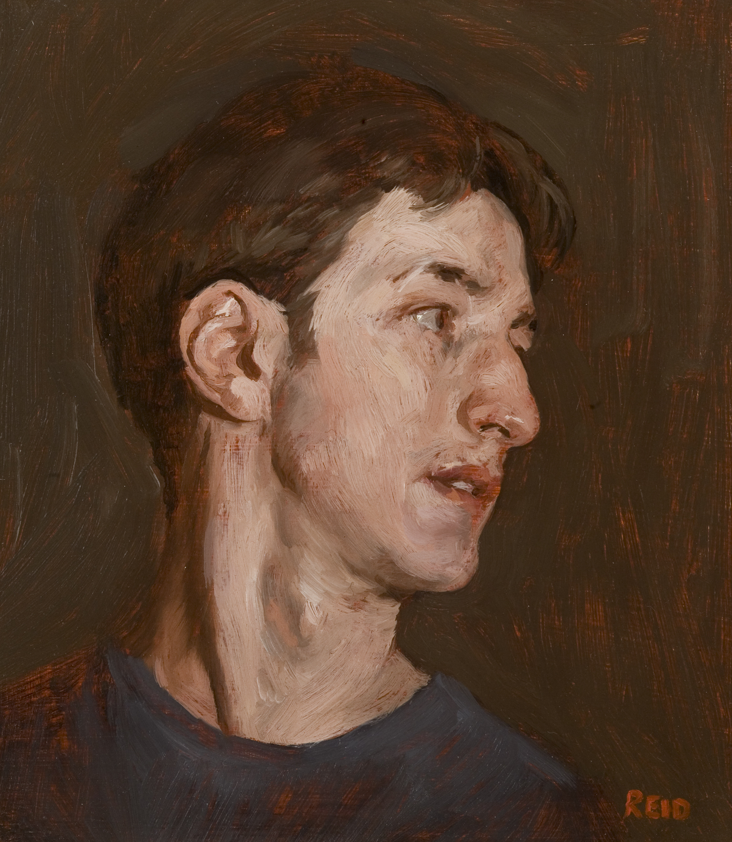 Self Portrait, 2002, Oil on Board, 20 x 28 cm