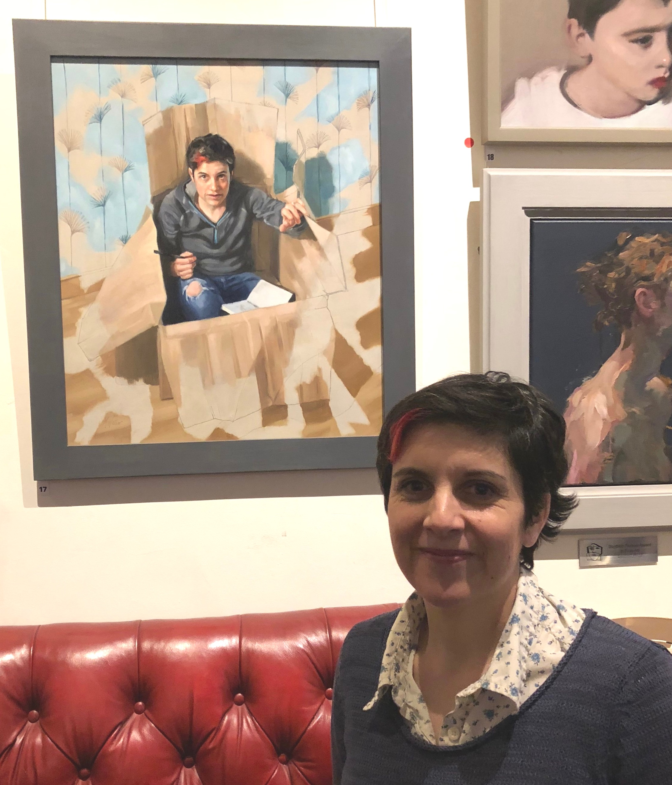 Micaela and her portrait at the SPA 2018 exhibition