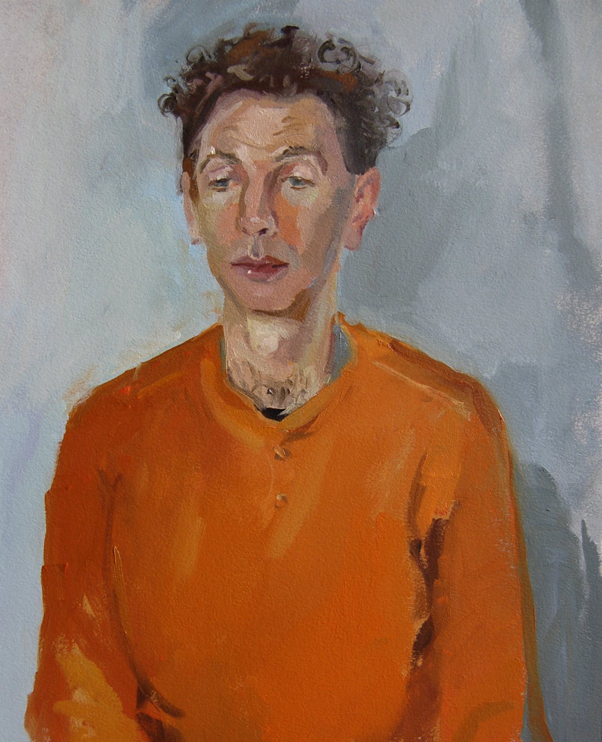 SPA 2019, Kim Scouller, Peter in Orange Jumper, Highgate, 2018,  Oil on Arches Oil Paper, 35 x 30 cms (framed), £1,200 (All rights reserved)