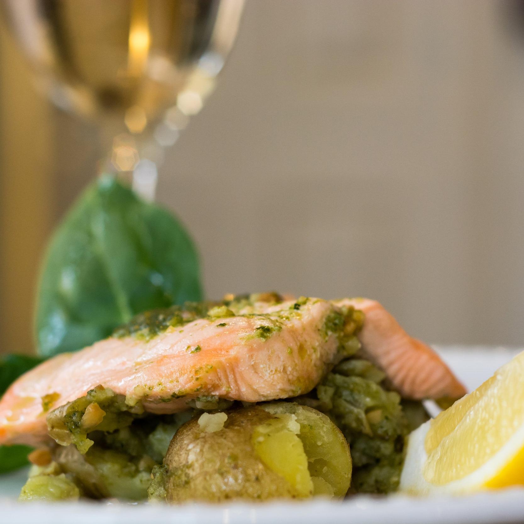 Salmon & Pesto Potatoes -