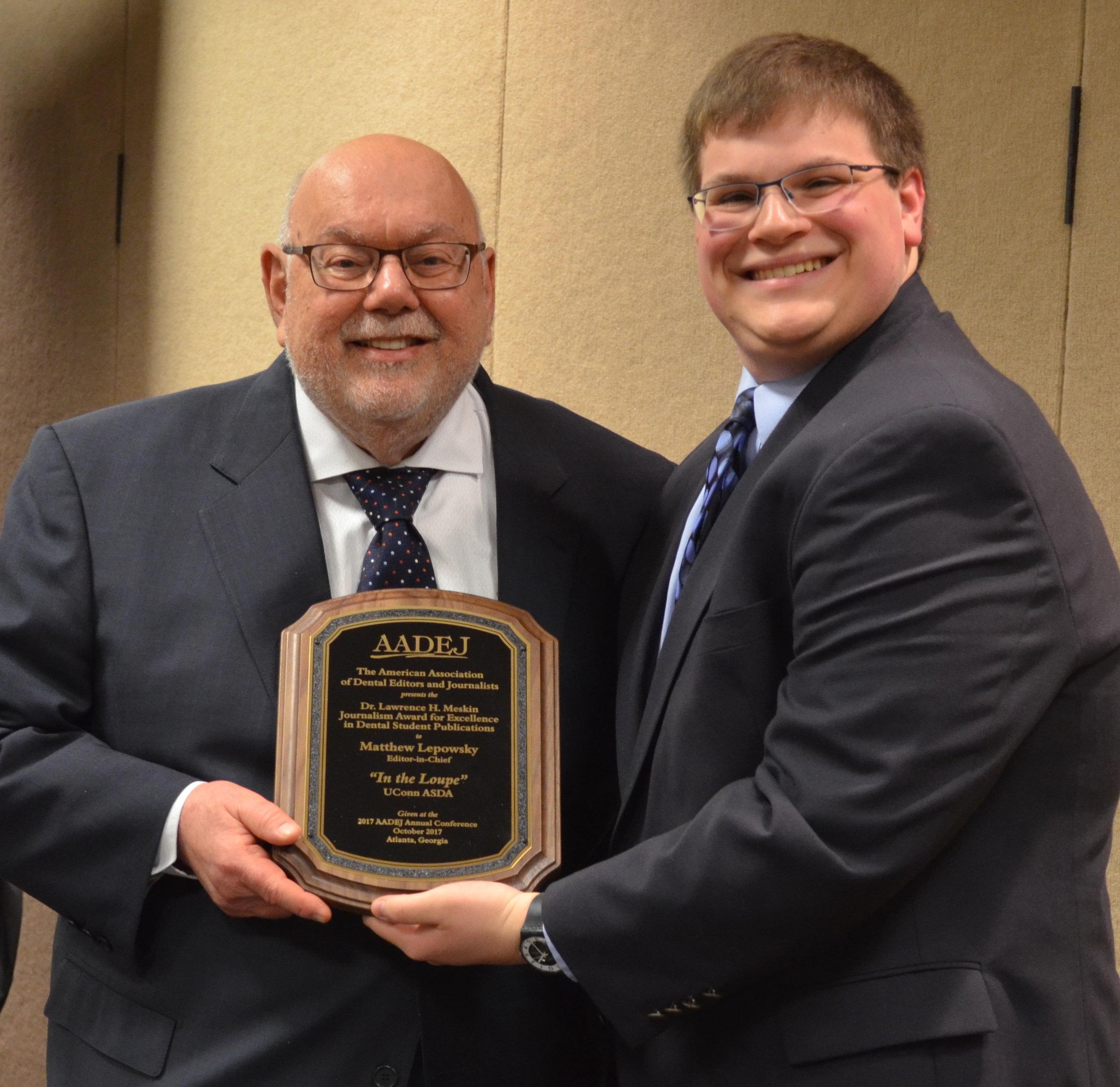 DSC_0283-ps- Matthew Lepowsky, (UConn) accepts the Meskin award from Dr. G..jpg