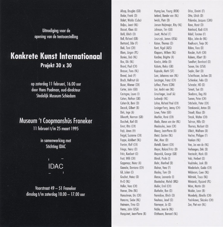 1995 'IDAC - Konkrete Kunst International'   Museum 't Coopmanshuis Franeker  HOLLAND