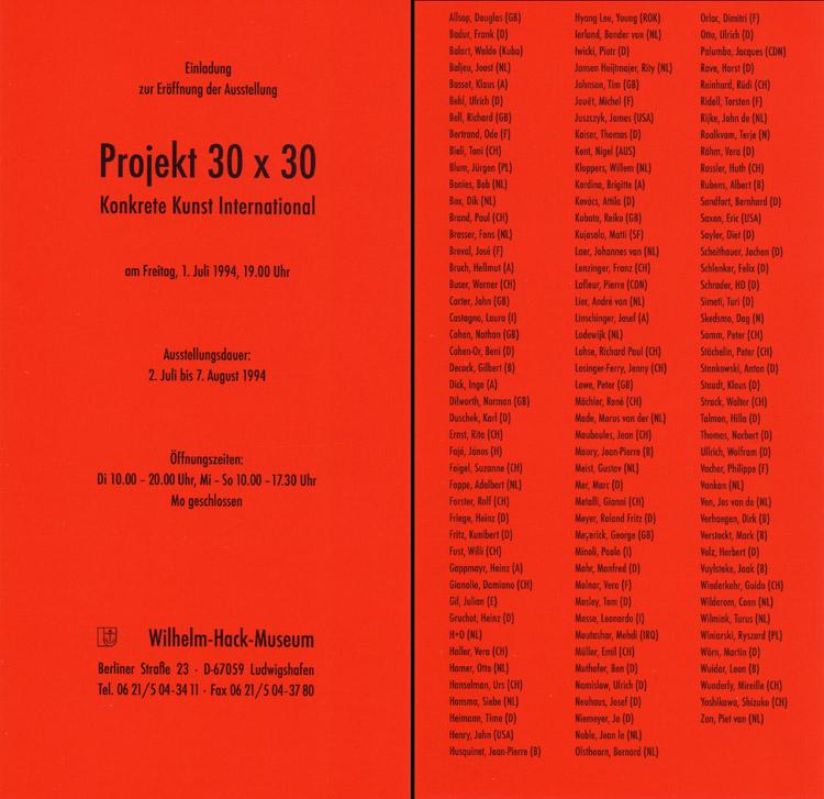 1994 'IDAC - Konkrete Kunst International'   Wilhelm-Hack Museum, Ludwigshafen, GERMANY