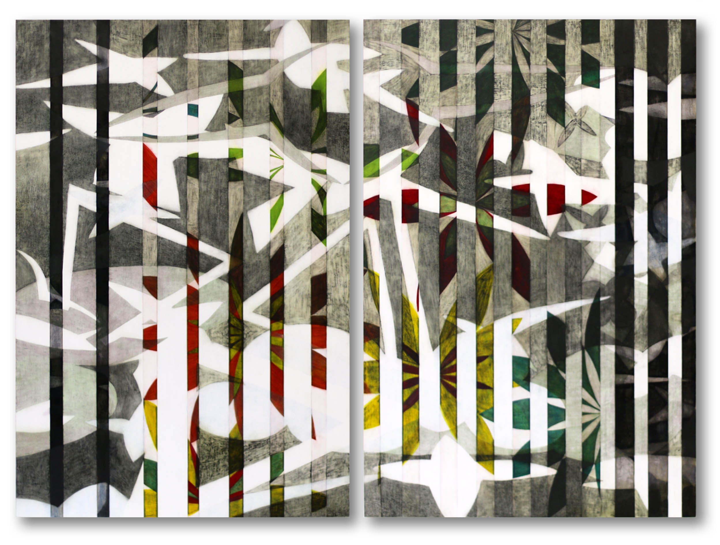 Of Another Space   tempera and oil glazing on gesso  diptych, 91 x 61cms (36'' x 24'') x 2 panels
