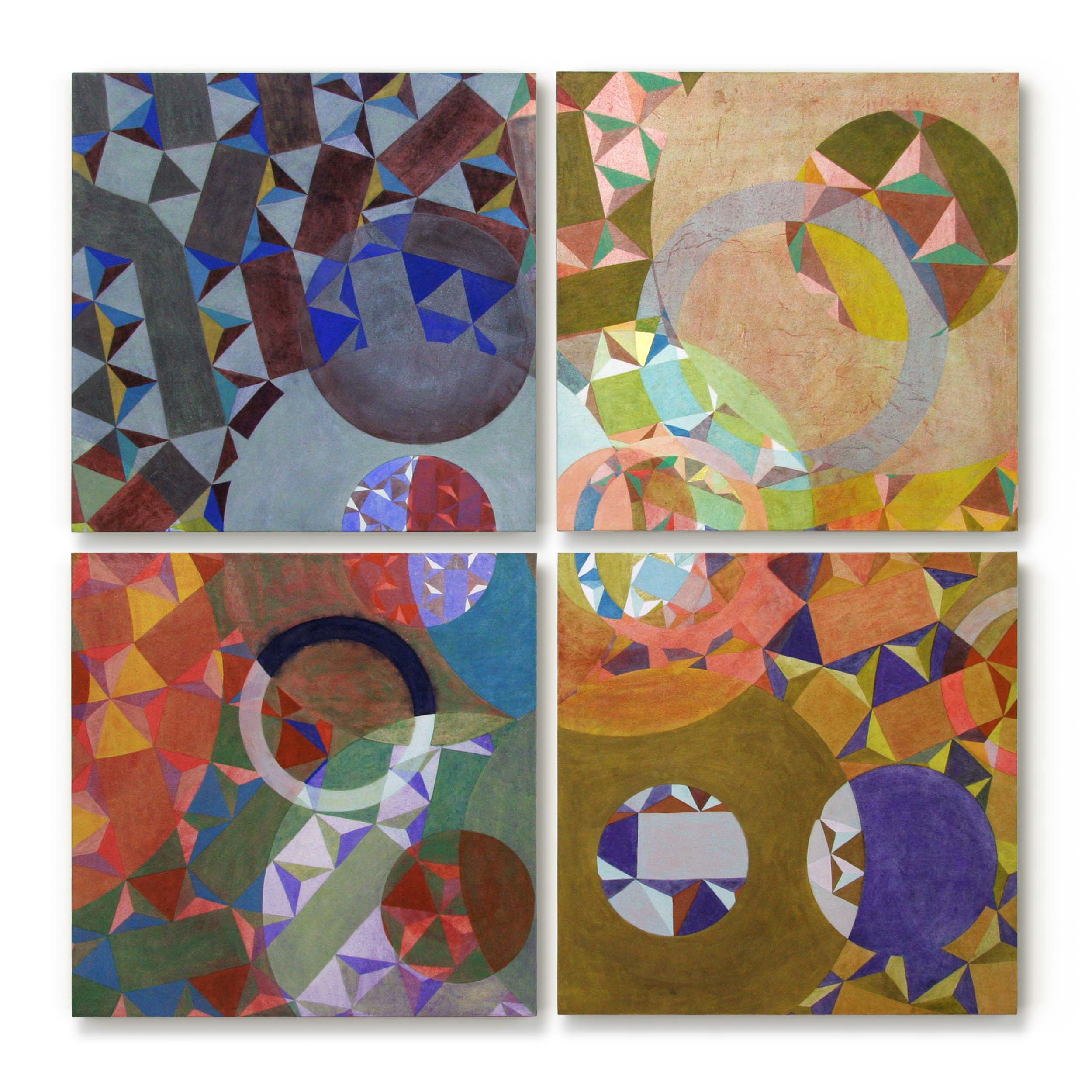 A Space Beyond   pigment in glue size and gold leaf, Japanese paper on panel  70 x 70 cms x 4 panels
