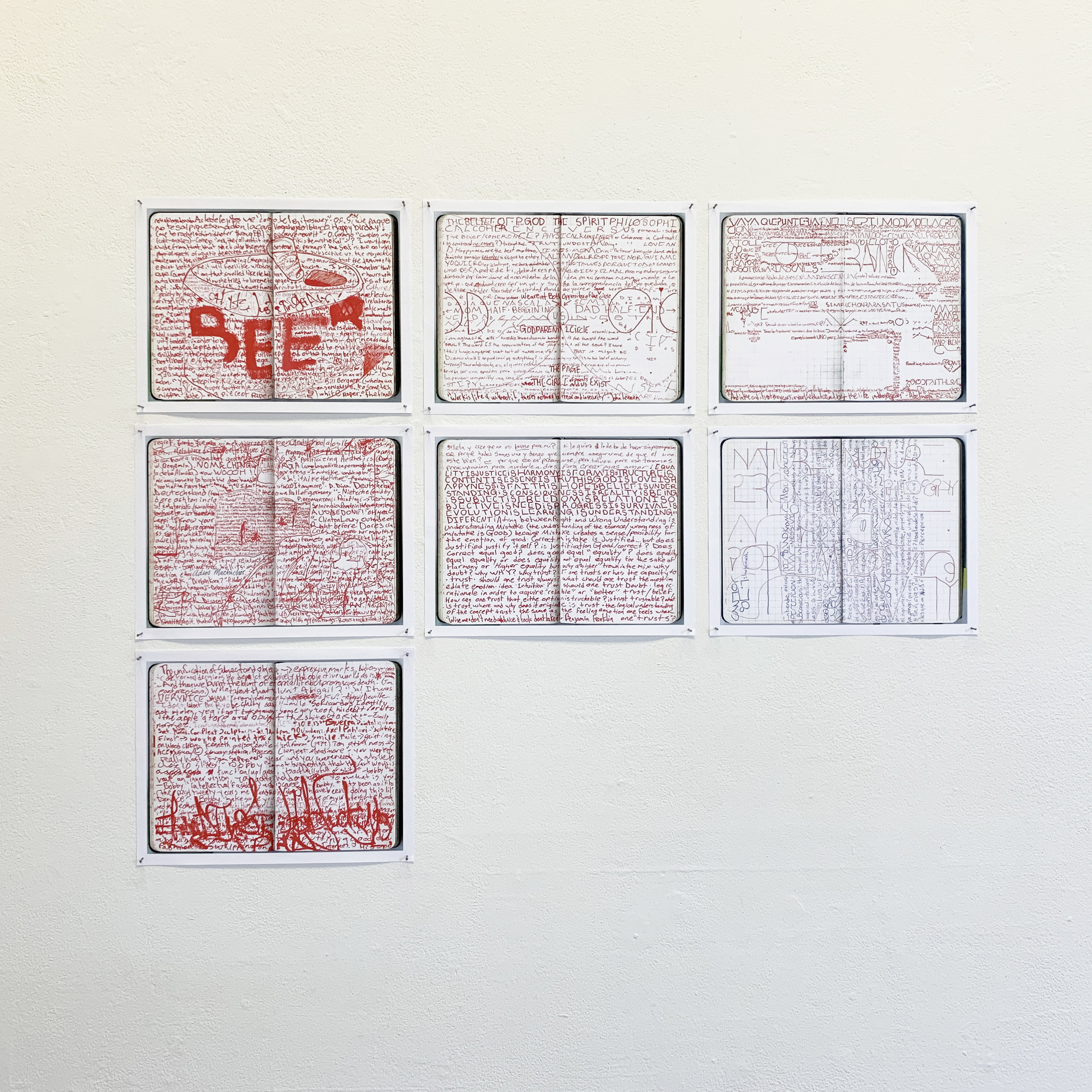 Carlos Martinez Ramos; a selection of pages (scanned and printed) from his notebooks, 2010-2012; in the collection of the artist