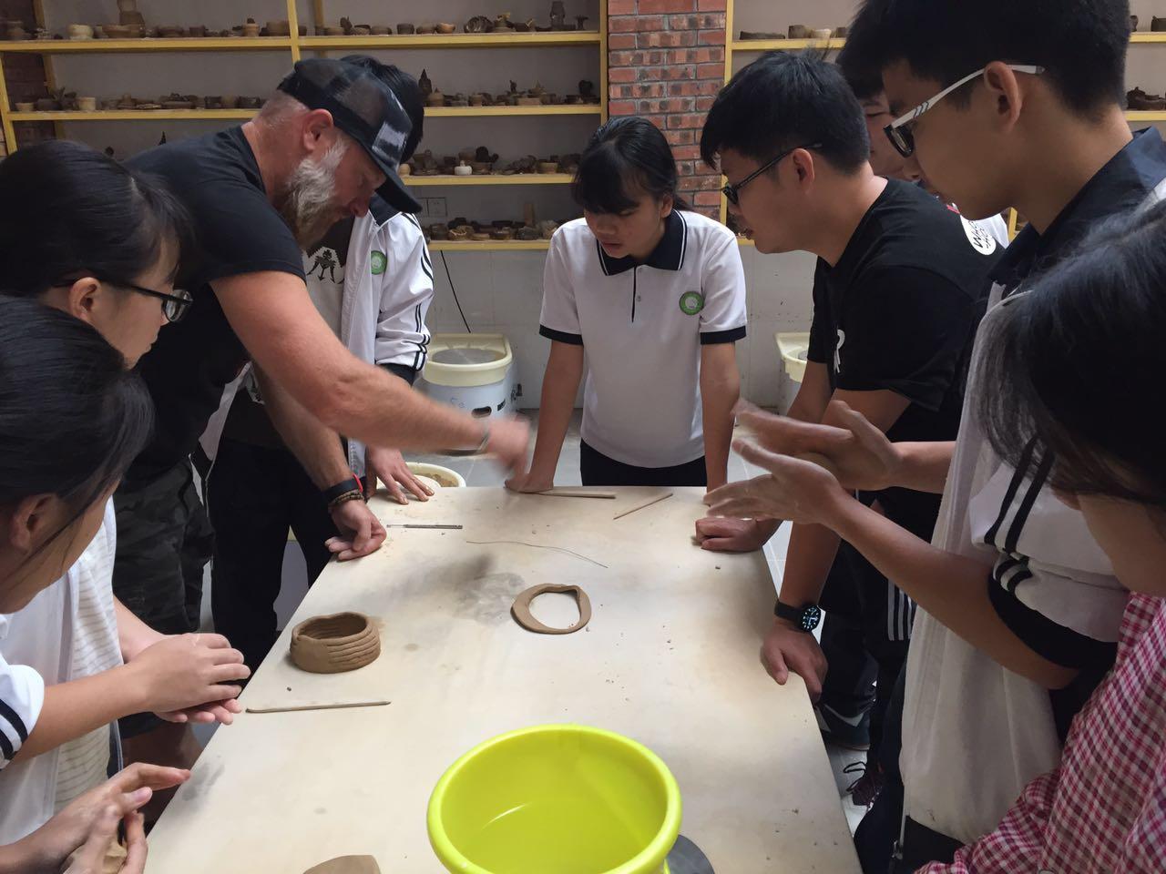 Kohl teaches High School students in Yizhou, Guangxi Autonomous Region, China, Fall 2017