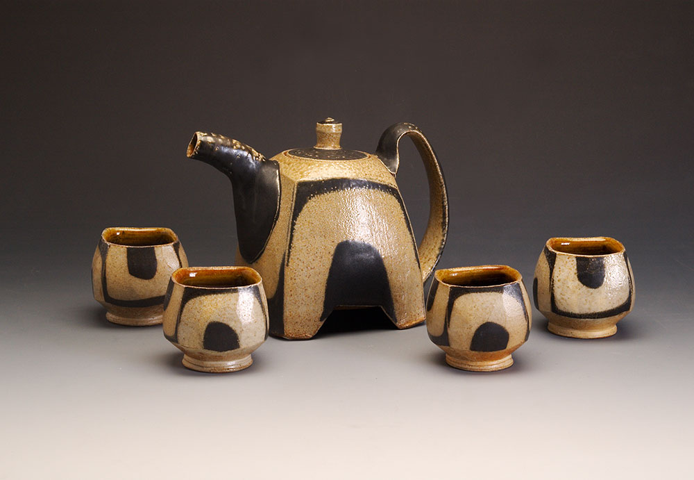 "9.  Square Teapot with Feet and U's , wood-fired, salt-glazed stoneware, teapot 6.5""h (2015)"