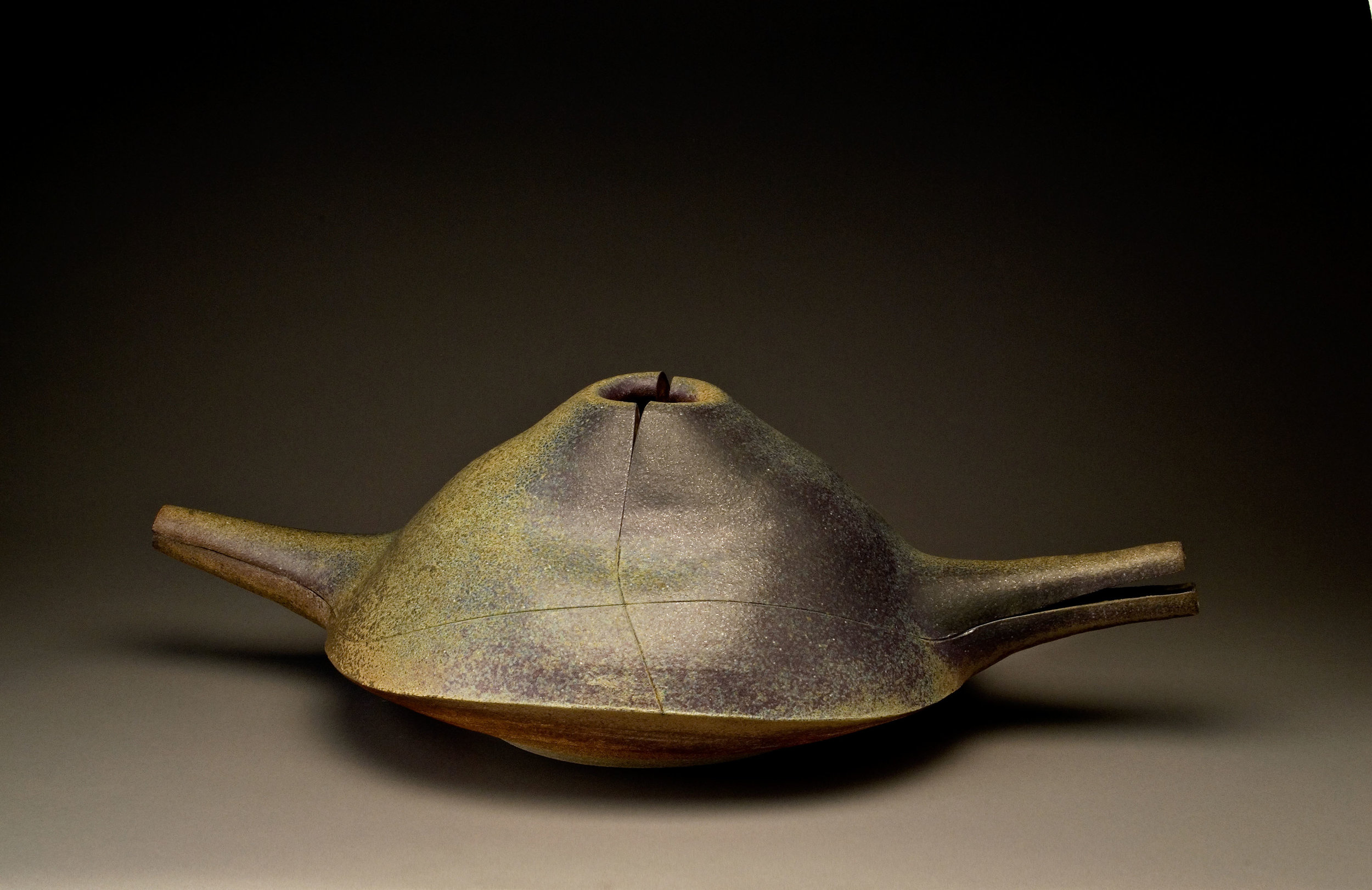 Karen Karnes (US, 1925-2016)   Winged Vessel , glazed stoneware, 9 x 29 x 17 in. circa 1987