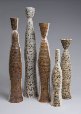 """Five Dipped and Marked Bottles, tallest 34""""h"""