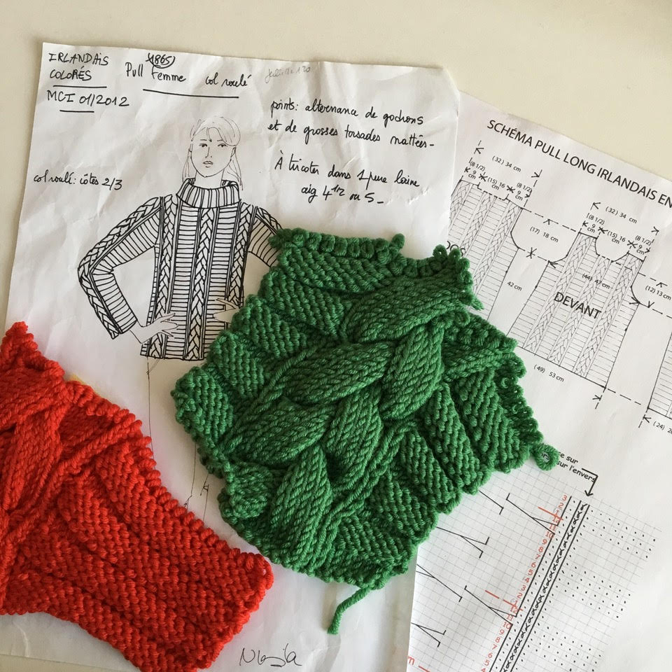 Le pull irlandais réalisé pour Marie-Claire.
