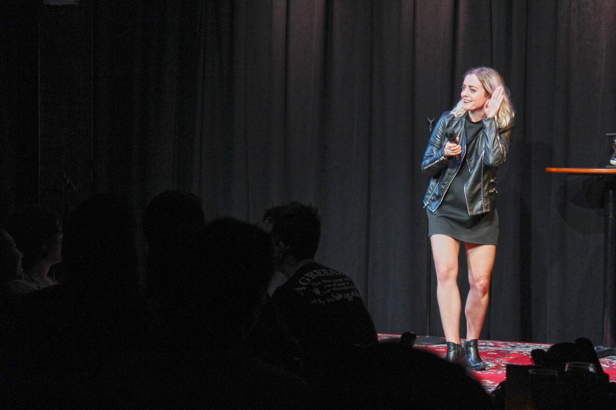 "Photo by Emily Bailey, ""Rape Jokes By Survivors"" at Caveat"