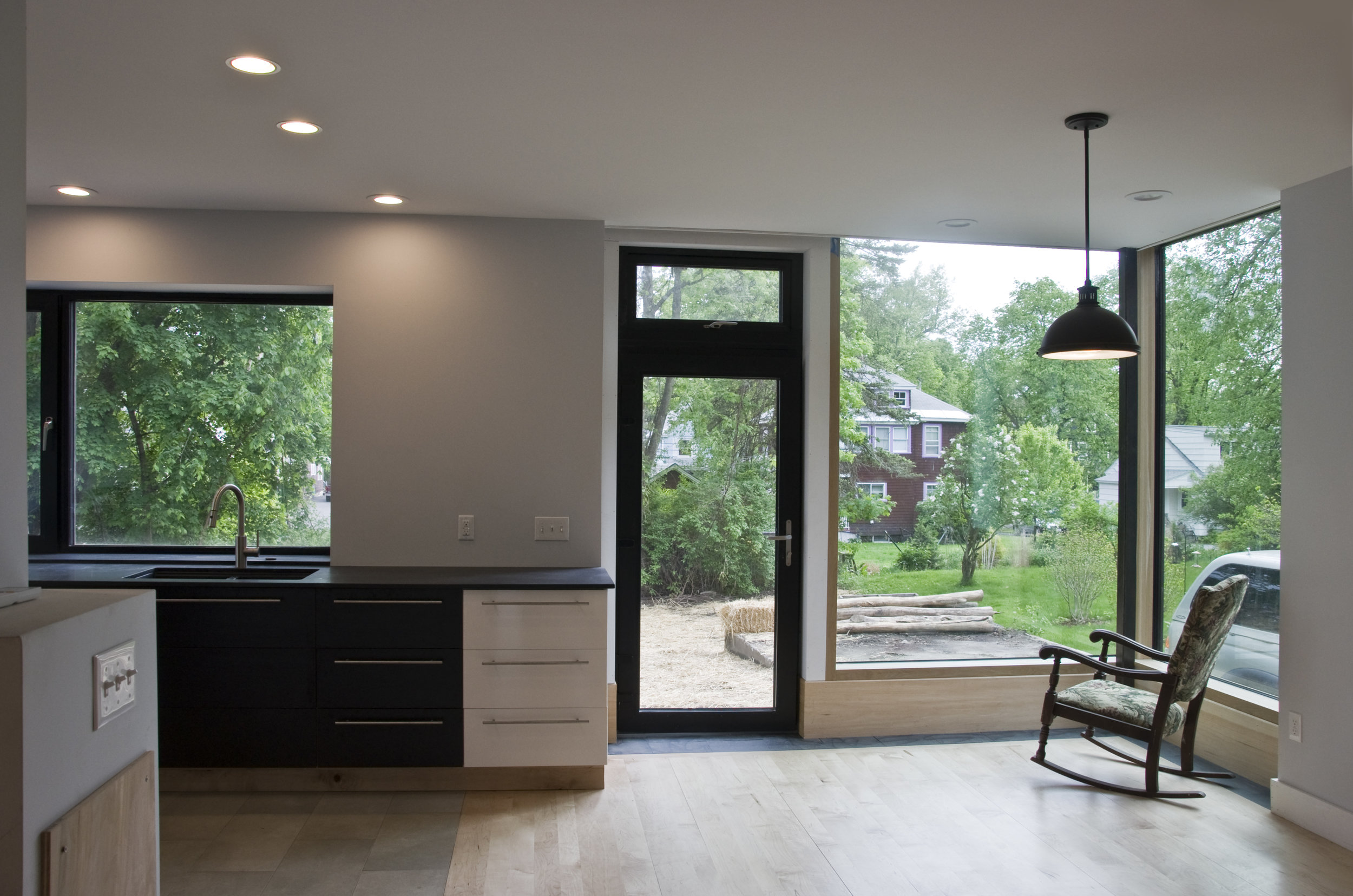 Ikea kitchen and huge triple glazed windows
