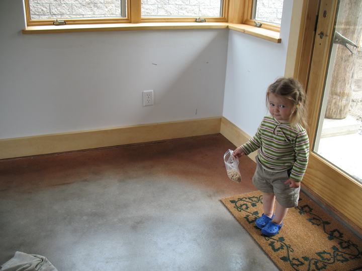 Concrete floor at entry