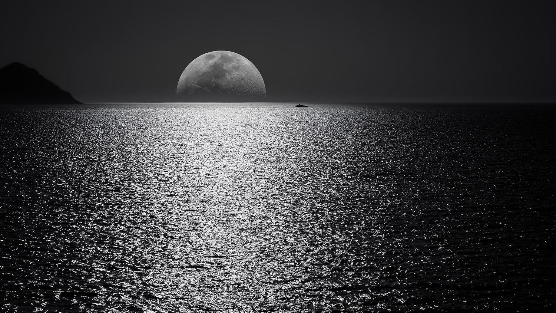 Silver Moonrise over Silver Sea