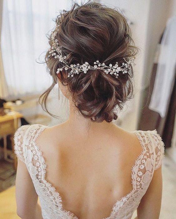 Aplique de alambre flexible para el pelo con cristal y perlas, idea para peinado de novia