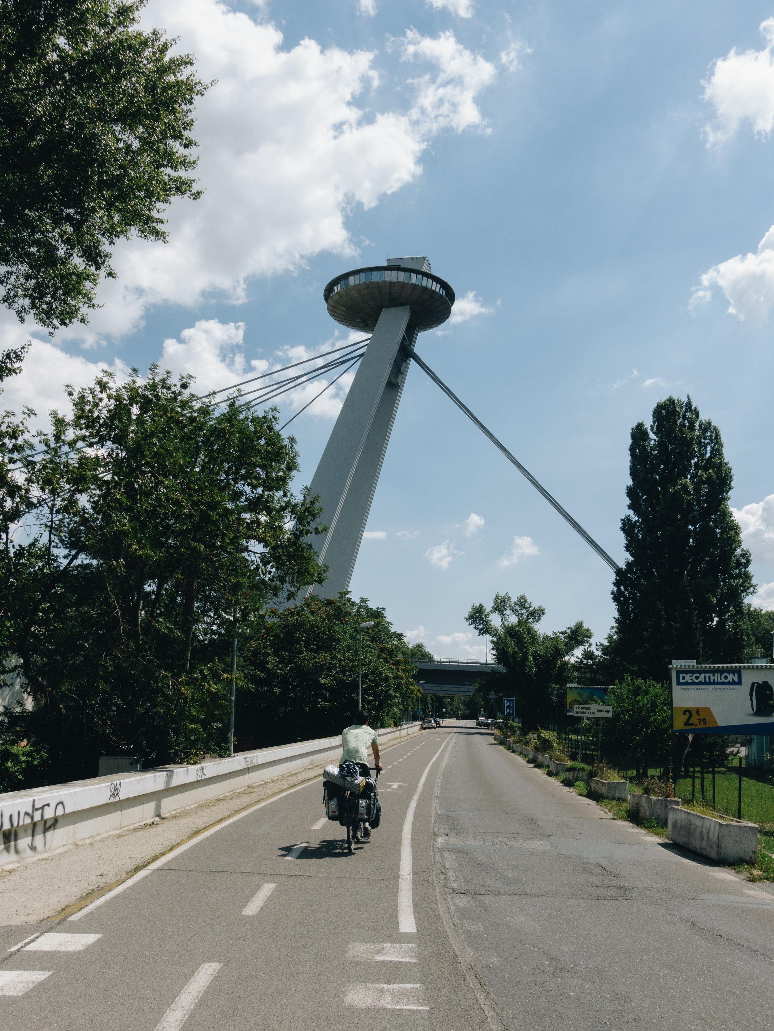 The recognisable Novy most (UFO) bridge in Bratislava, Slovakia