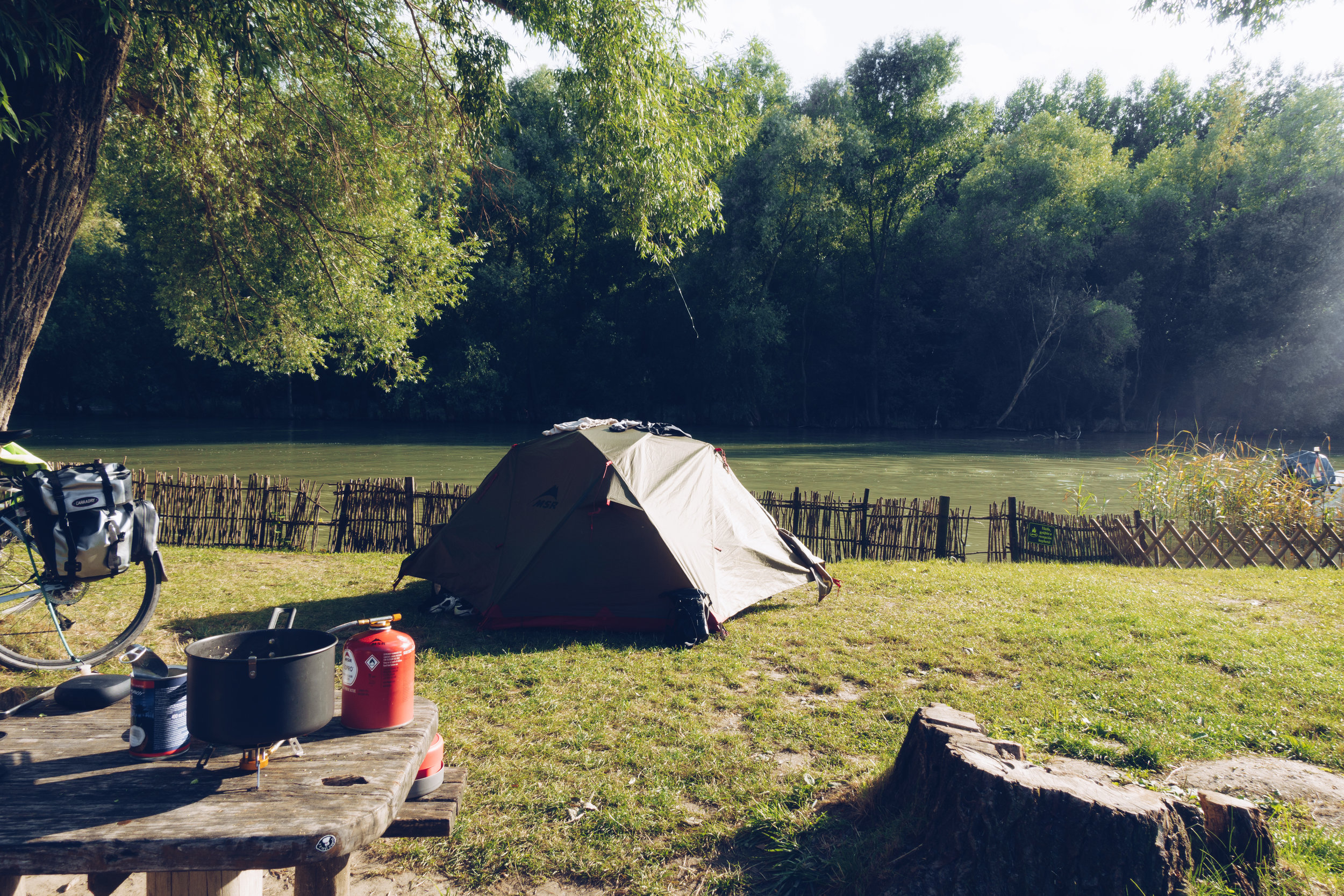 Camping on the Duna river, Hungary