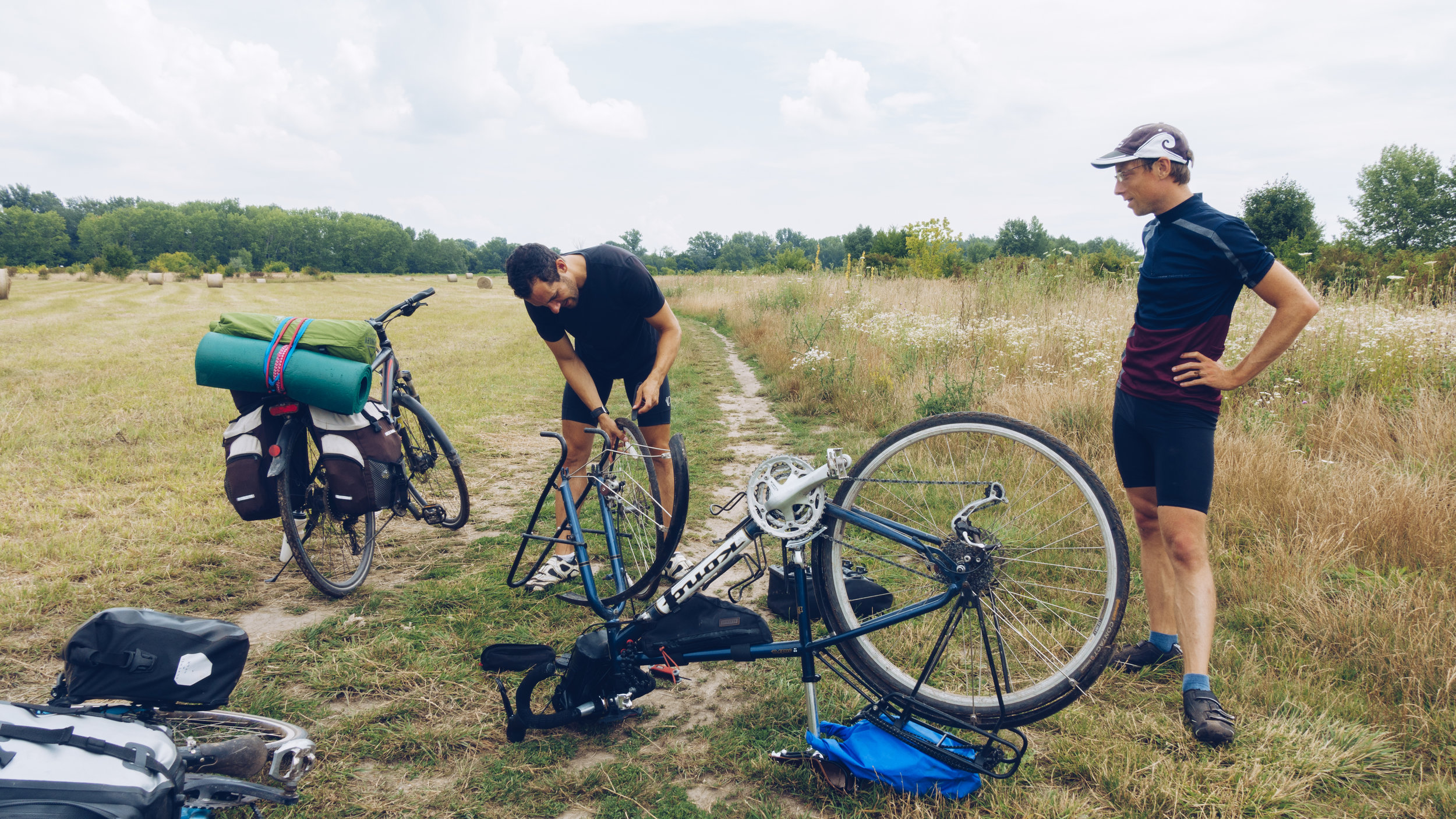 Becky's first flat tyre, Hungary