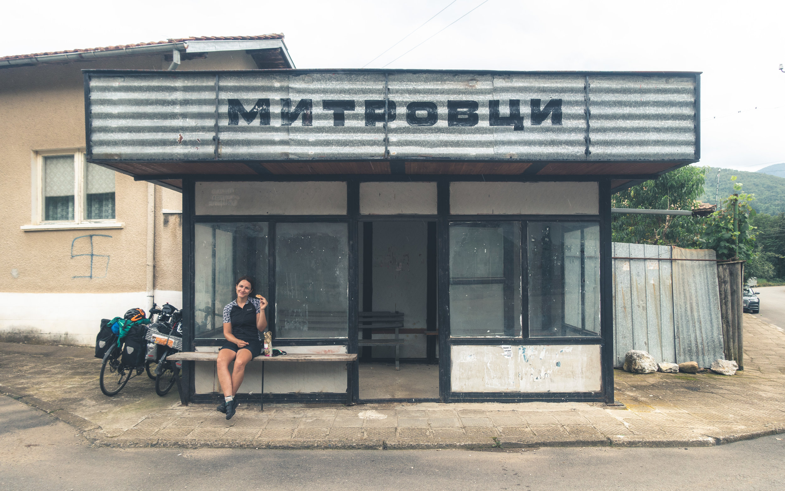 Bus stop lunches in rural Bulgaria!