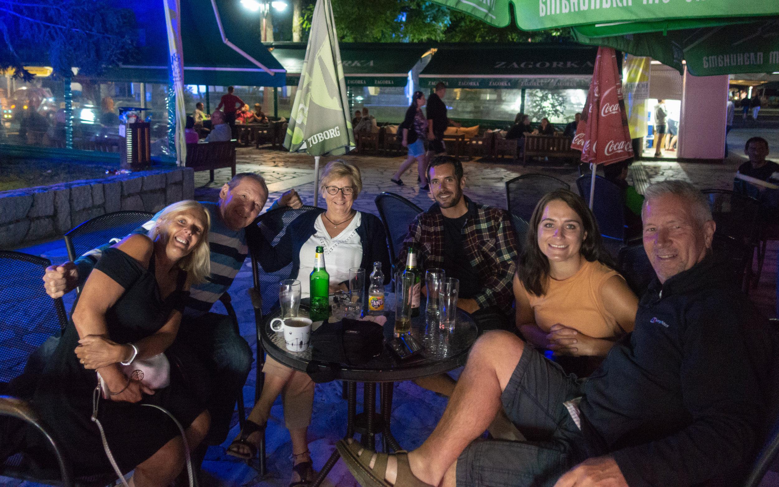 Drinks with Glynis, Nigel and friends in Bansko!