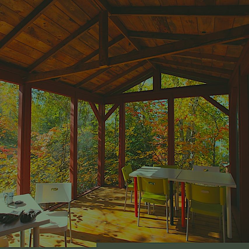 Osprey Deck - A screened gazebo atop the ledgerock with view of lake and woods, for writing and meetings.