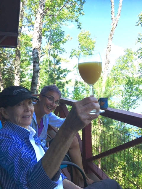 Franny Engelman and Liz on the Porch at Splake Cabin    2017
