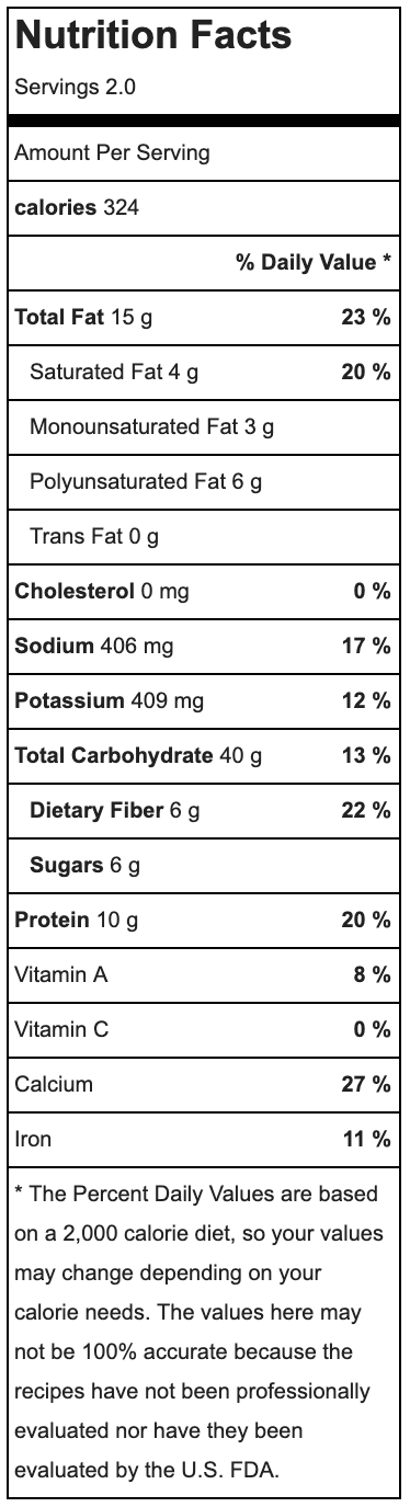 Note:    nutrition facts include crepes and oil for frying but does NOT include any toppings.