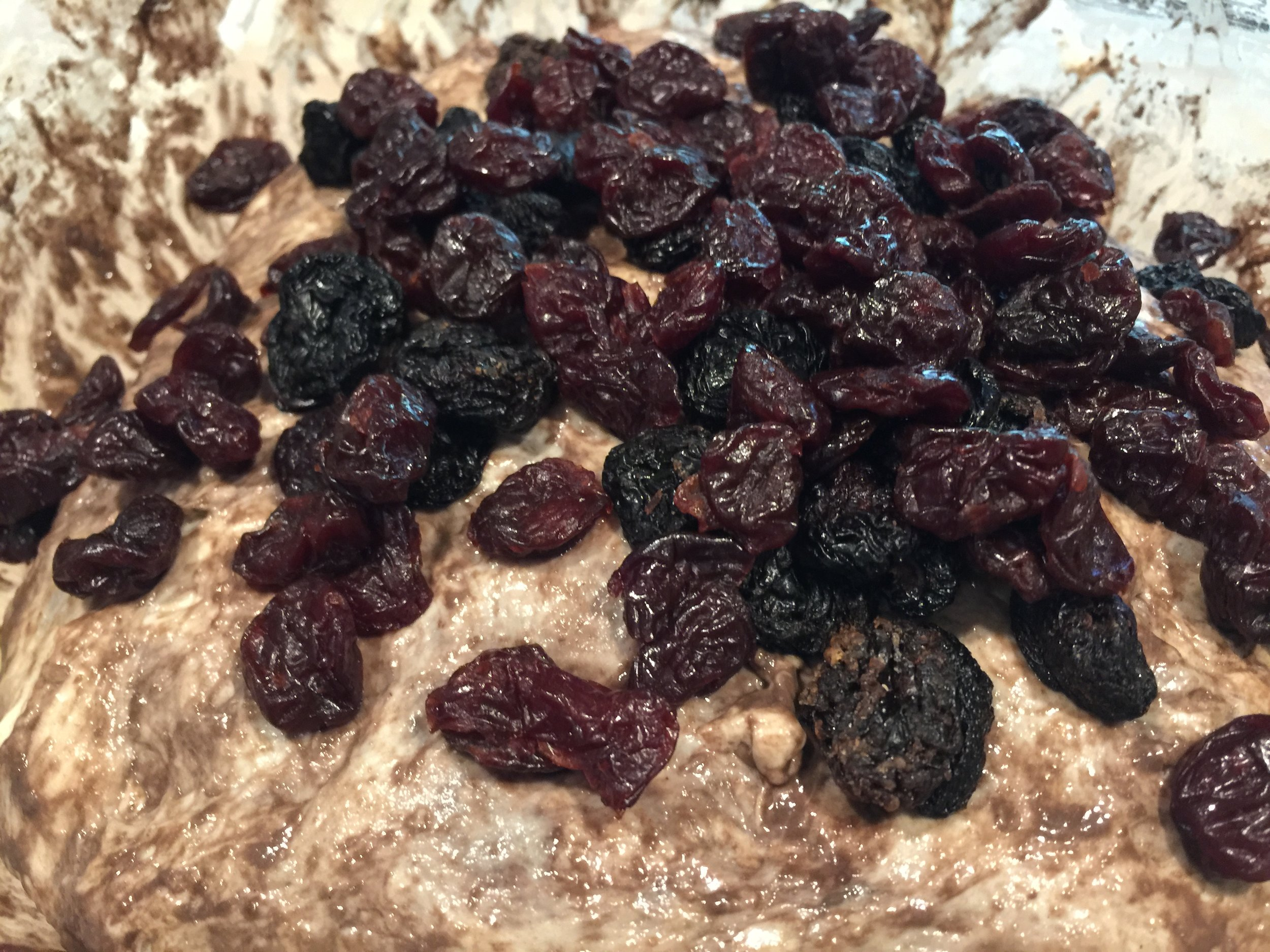 A combination of sweet and tasrt cherries are used to produce a balanced flavor with the sourdough.