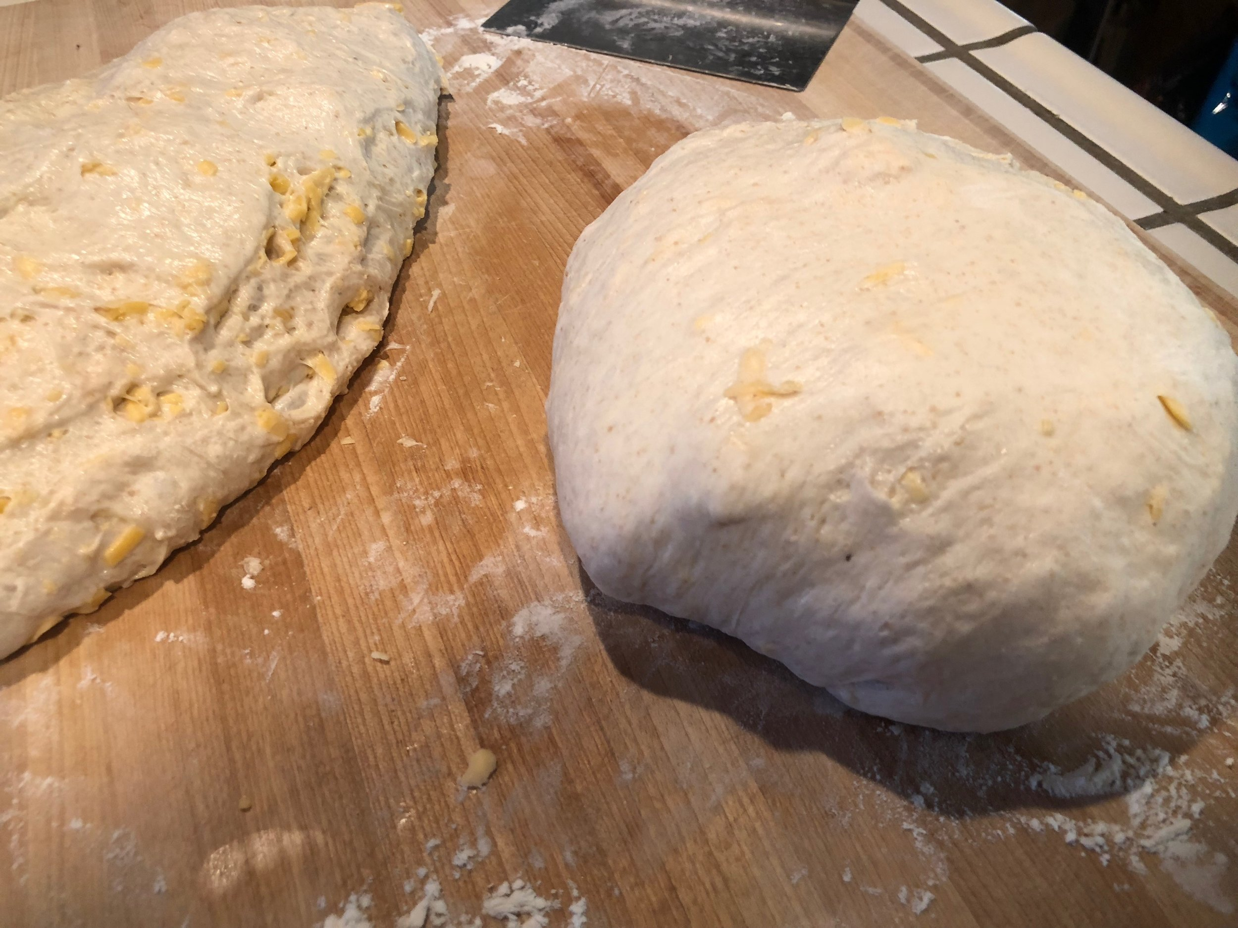 The first bread is ready for bench rest continue onto the second dough piece.