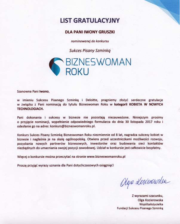 sukces pisany szminka iwona gruszka bizneswoman roku