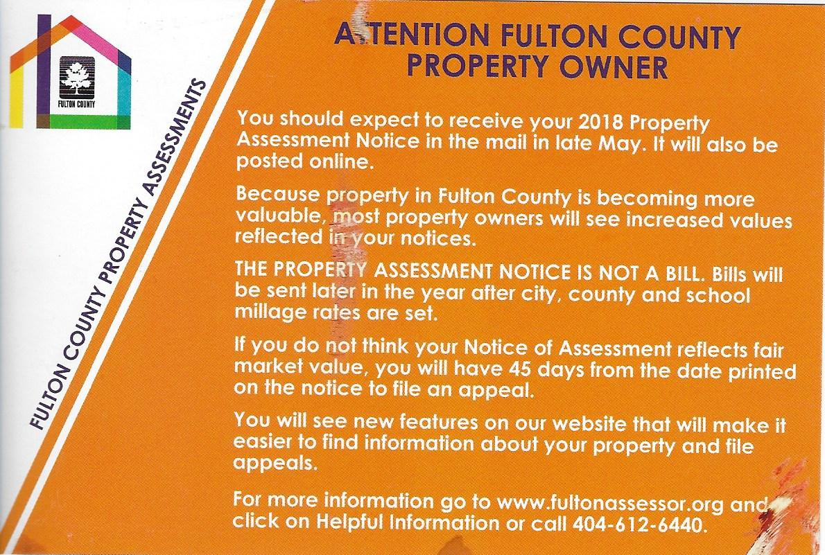 Mail notification from the Fulton County Board of Assessors to Property Owners