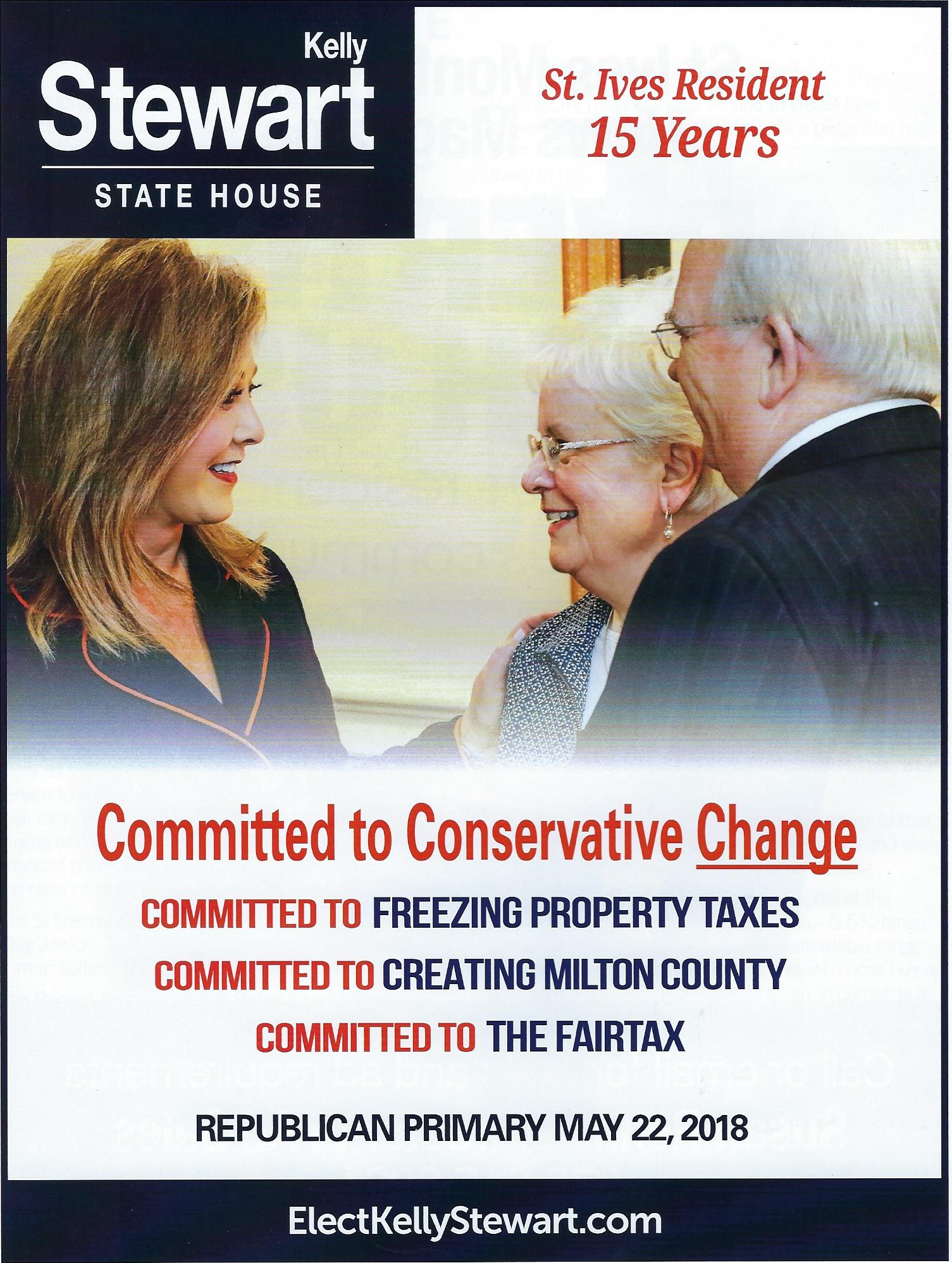 Kelly Stewart's election material explicitly states a commitment to freezing property taxes