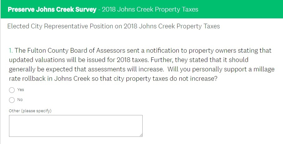 Preserve Johns Creek Survey submitted to Johns Creek's elected representatives